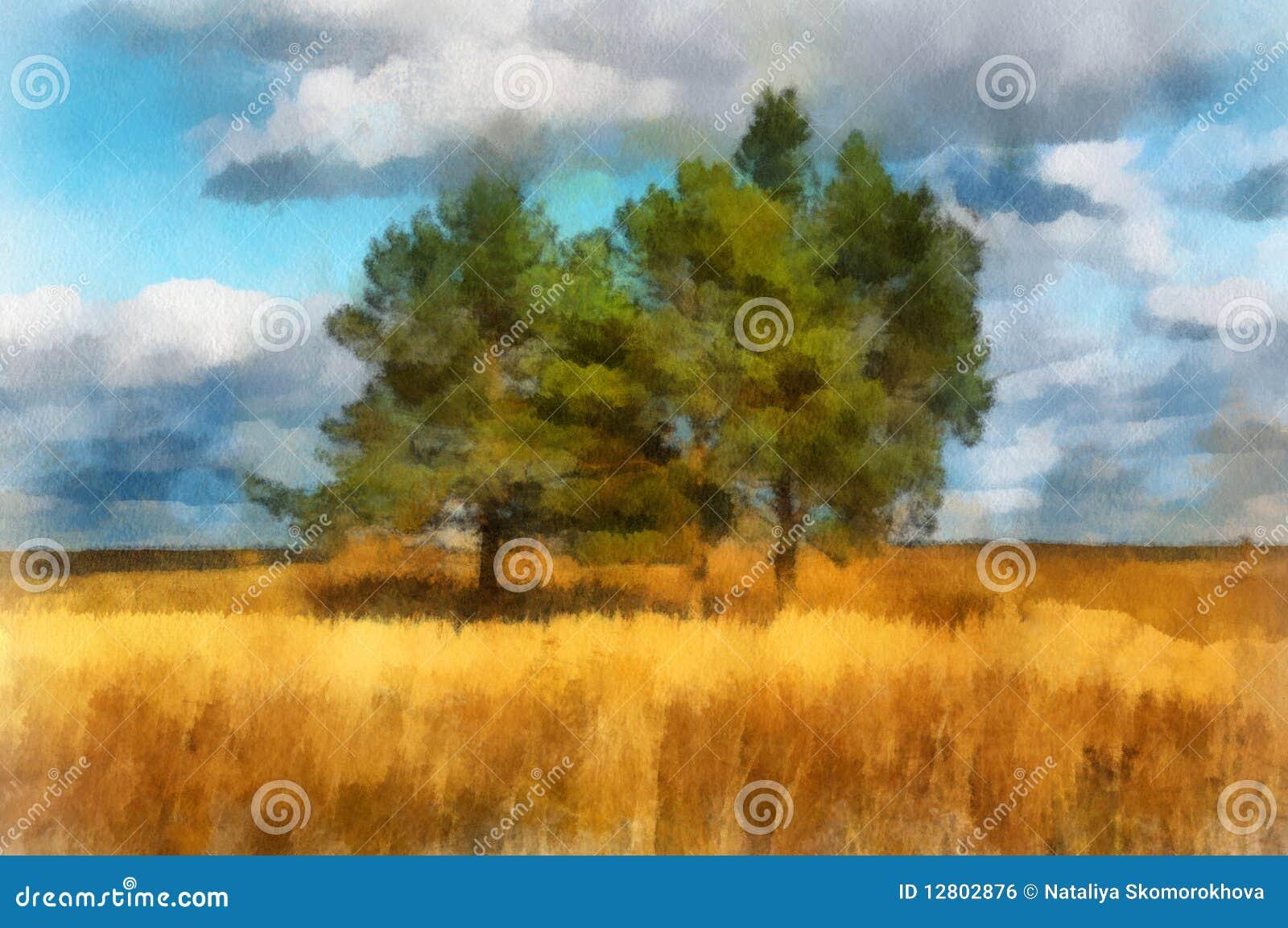 Ilustração, paisagem com árvores