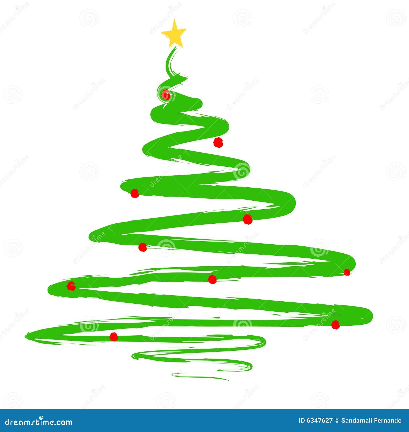 Ilustra o pintada da rvore de natal ilustra o do vetor - Contorno di un albero di natale ...