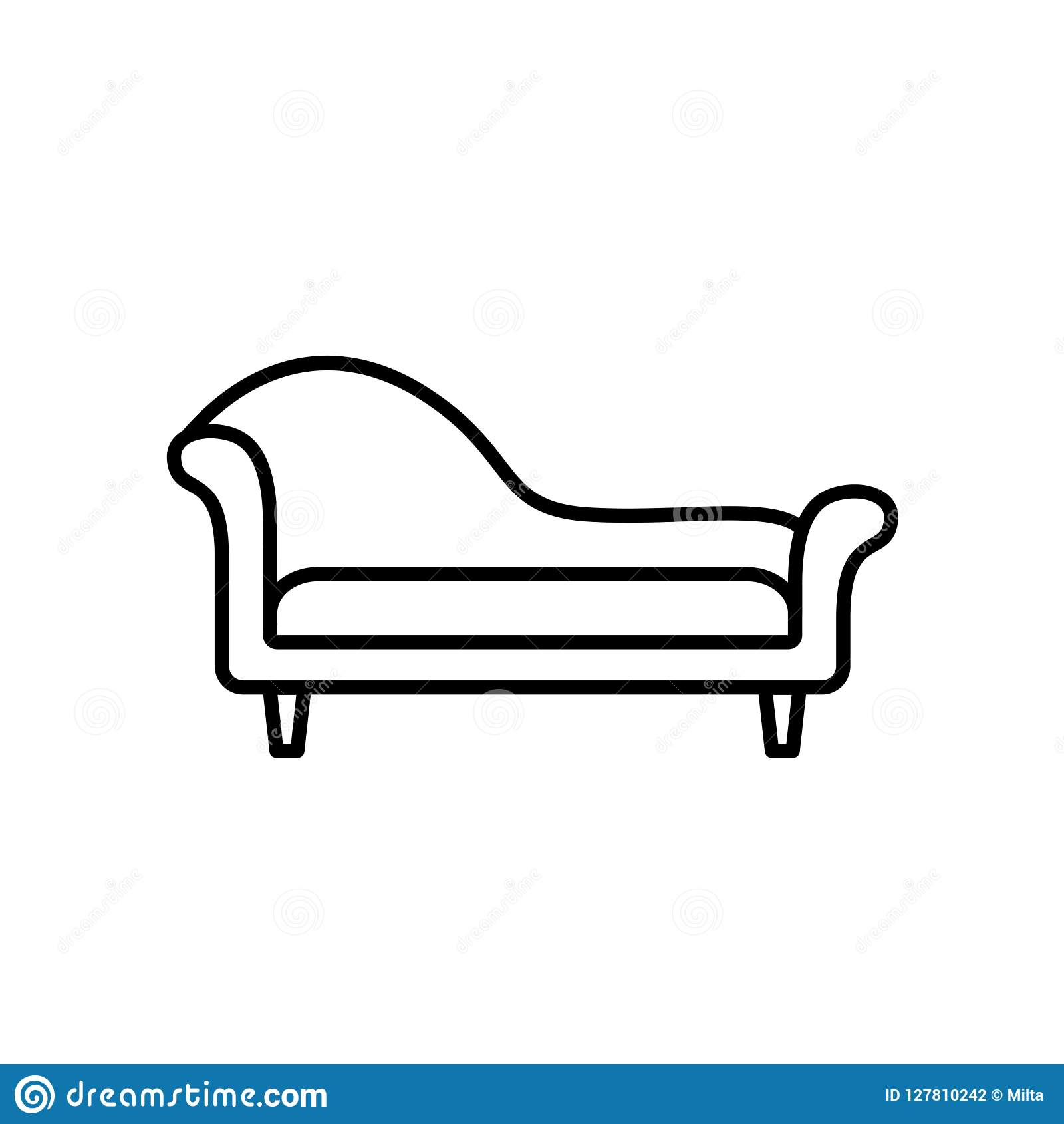 Ilustração preta & branca do vetor do sofá da sala de estar do chaise Linha CI