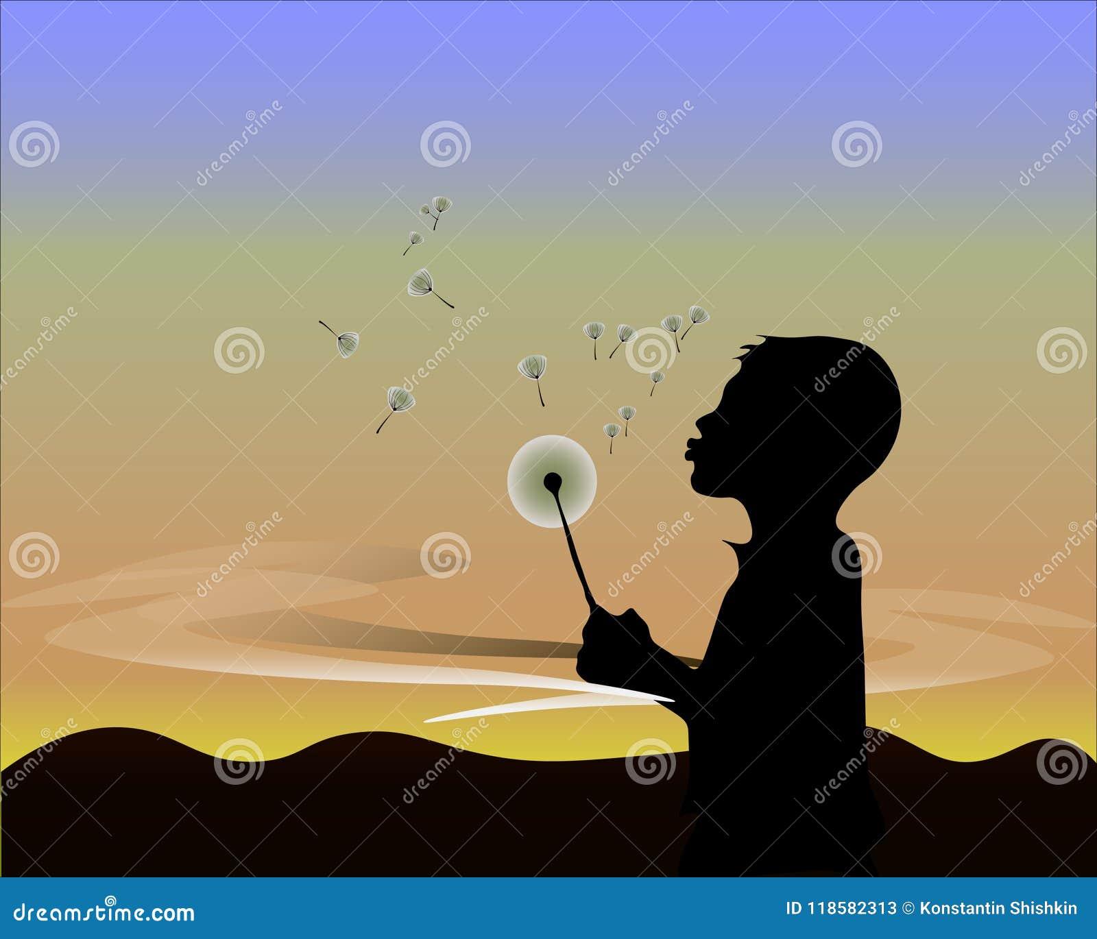Ilustração preta do vetor do homem com flor