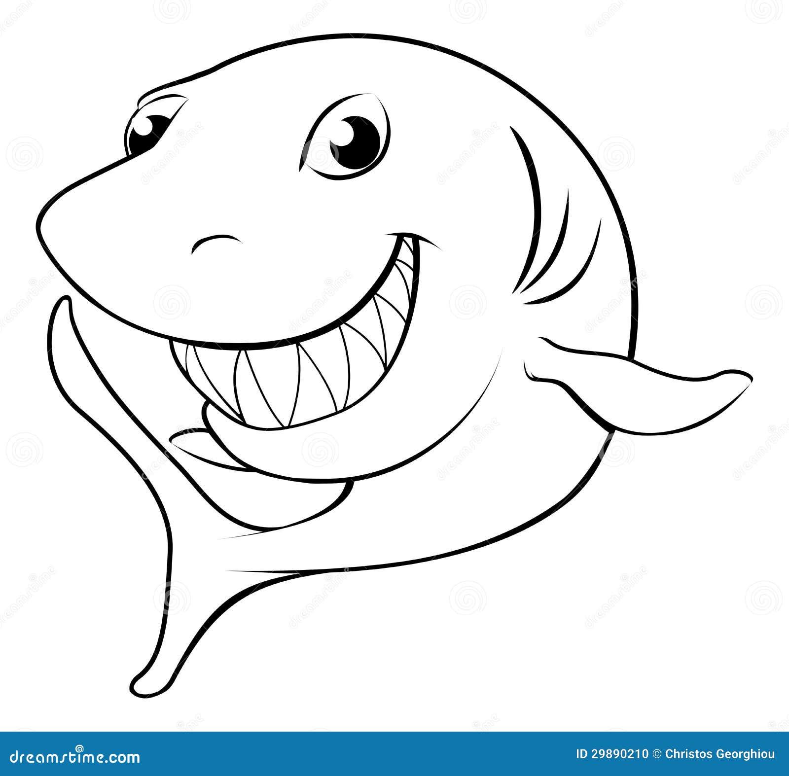 Tubarão Feliz Dos Desenhos Animados Ilustração Do Vetor