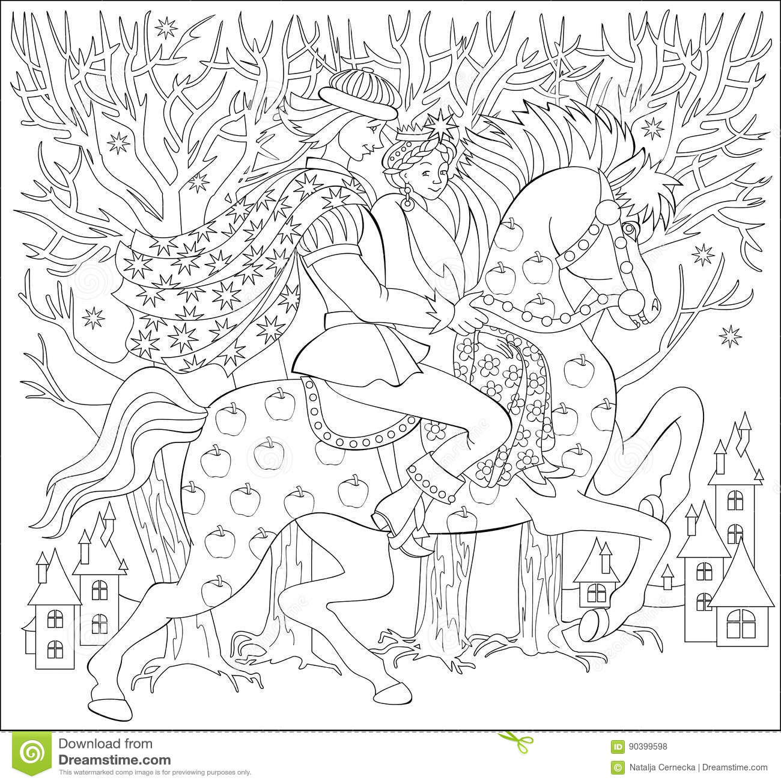 ilustração preto e branco do príncipe e dos príncipes que montam no