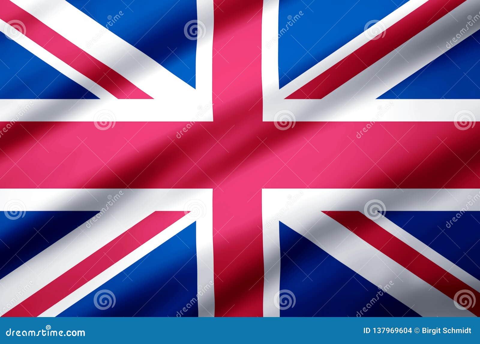 Ilustração realística da bandeira de Reino Unido