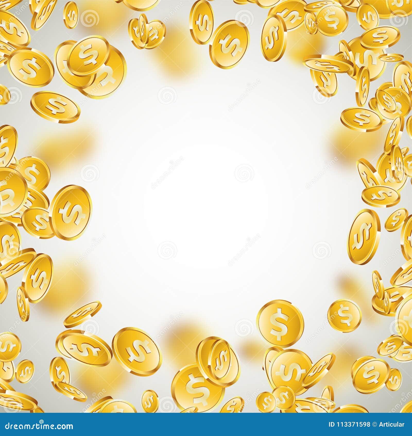 Ilustração realística das moedas de ouro no fundo limpo moeda de queda com sinal de dólar Projeto de conceito do sucesso do vetor