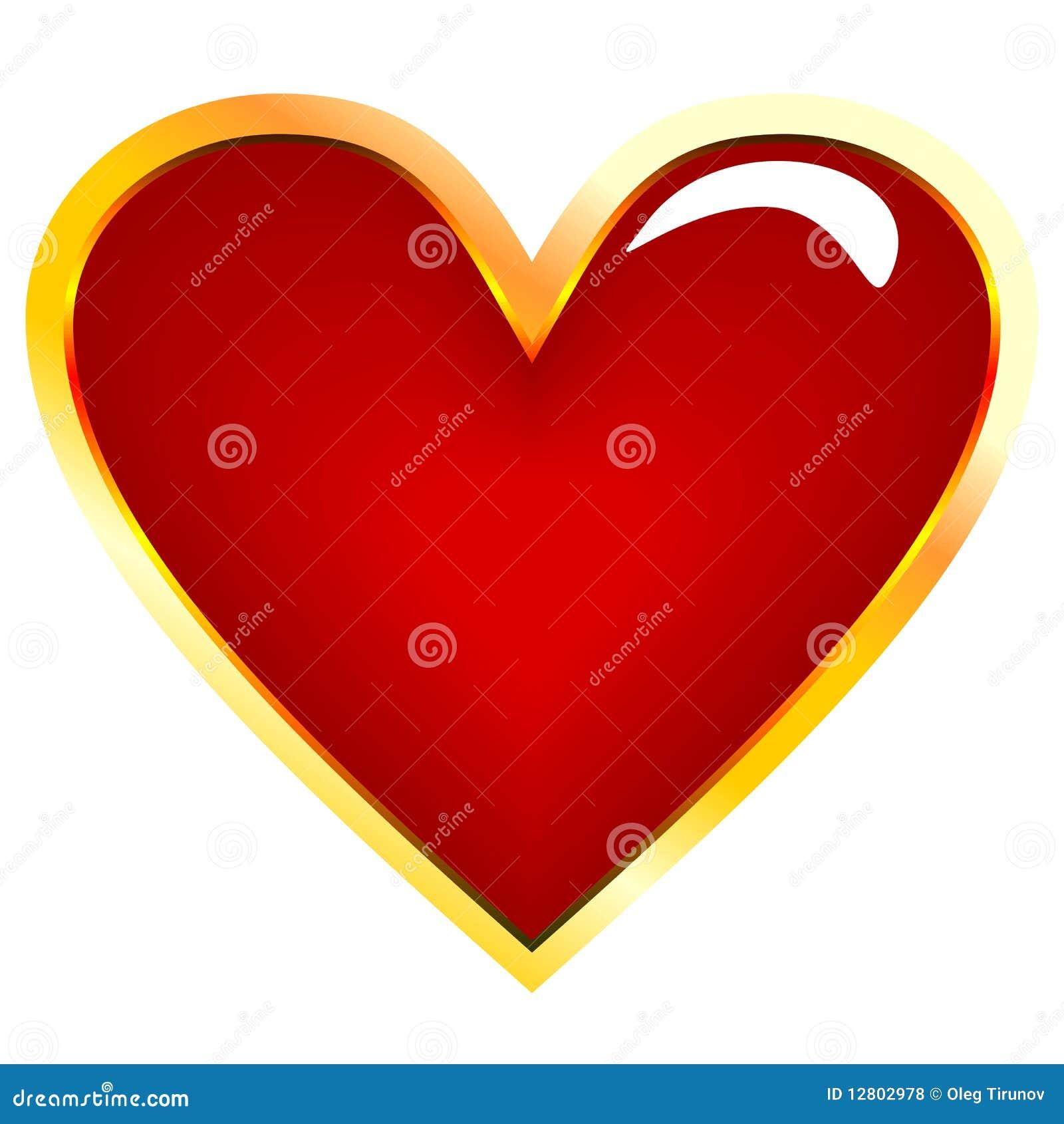 Ilustração realística do coração dourado