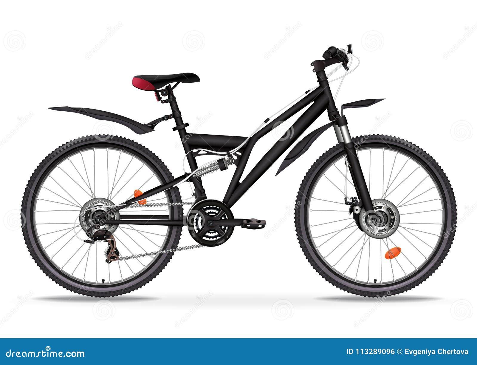 Ilustração realística do vetor da bicicleta Metade-cara metálica preta da bicicleta com muitos detalhes múltiplos isolados no fun