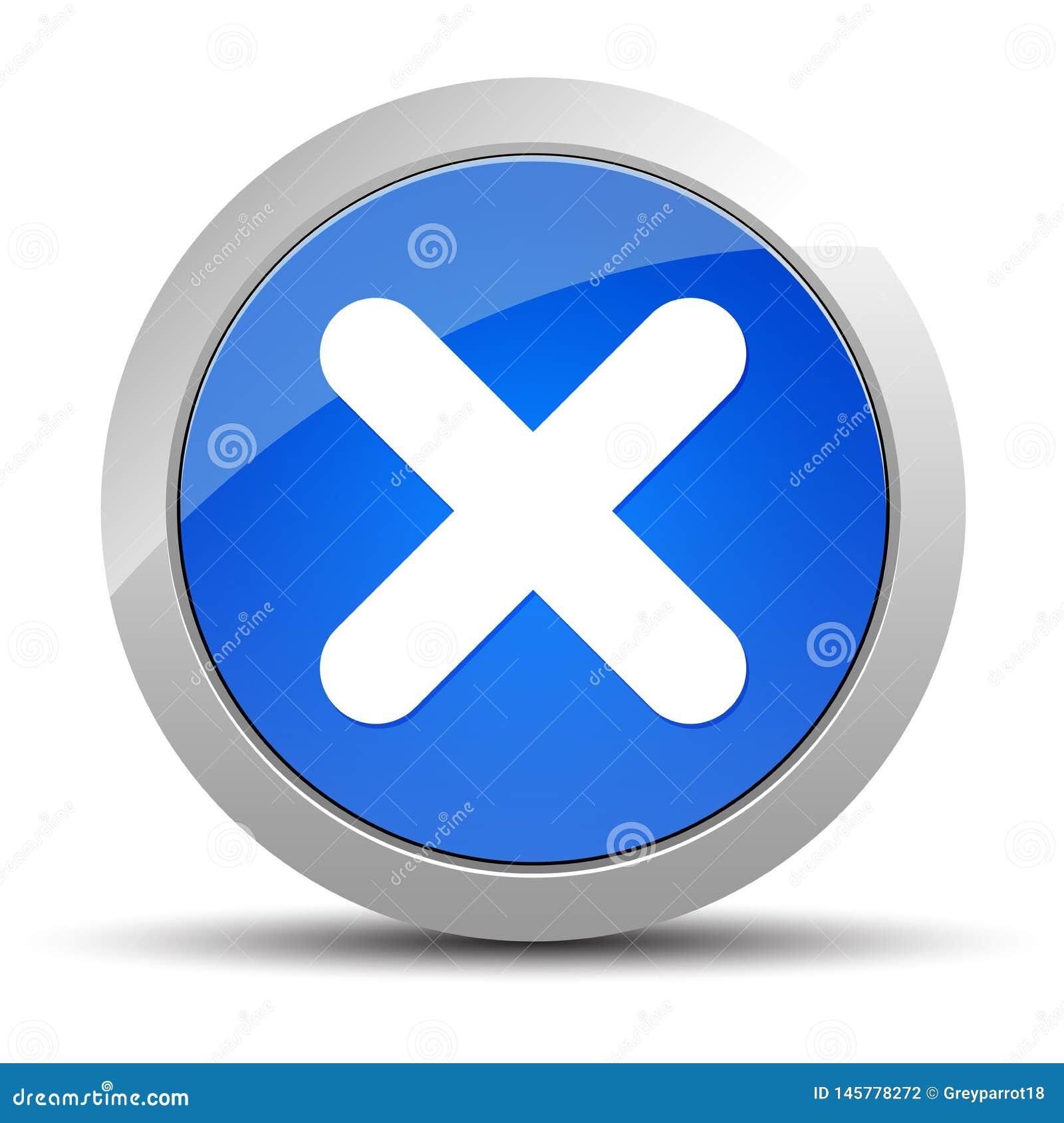 Ilustração redonda azul do botão do ícone transversal