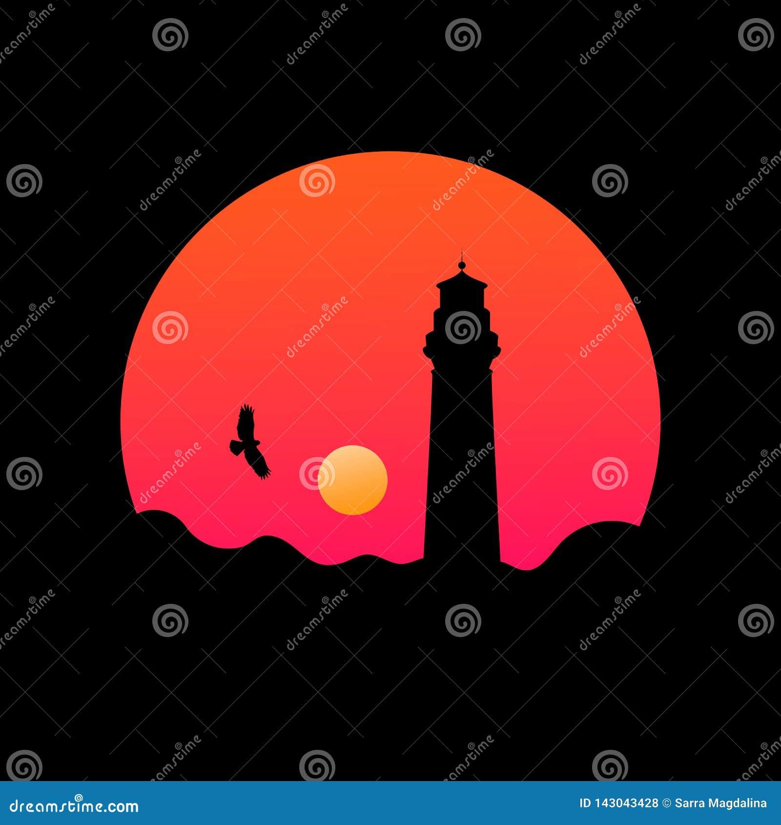 Ilustração redonda da paisagem com a silhueta do farol no por do sol