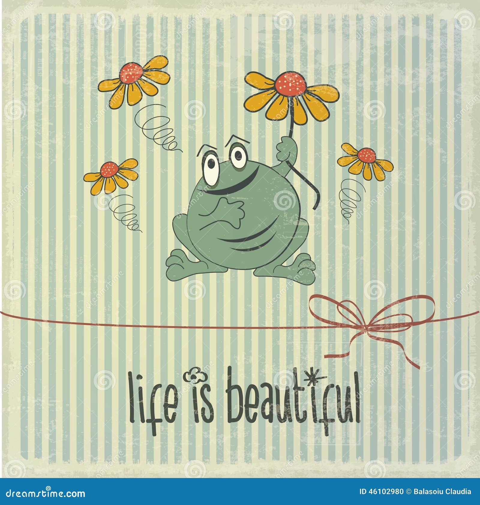 Ilustração retro com rã feliz e frase