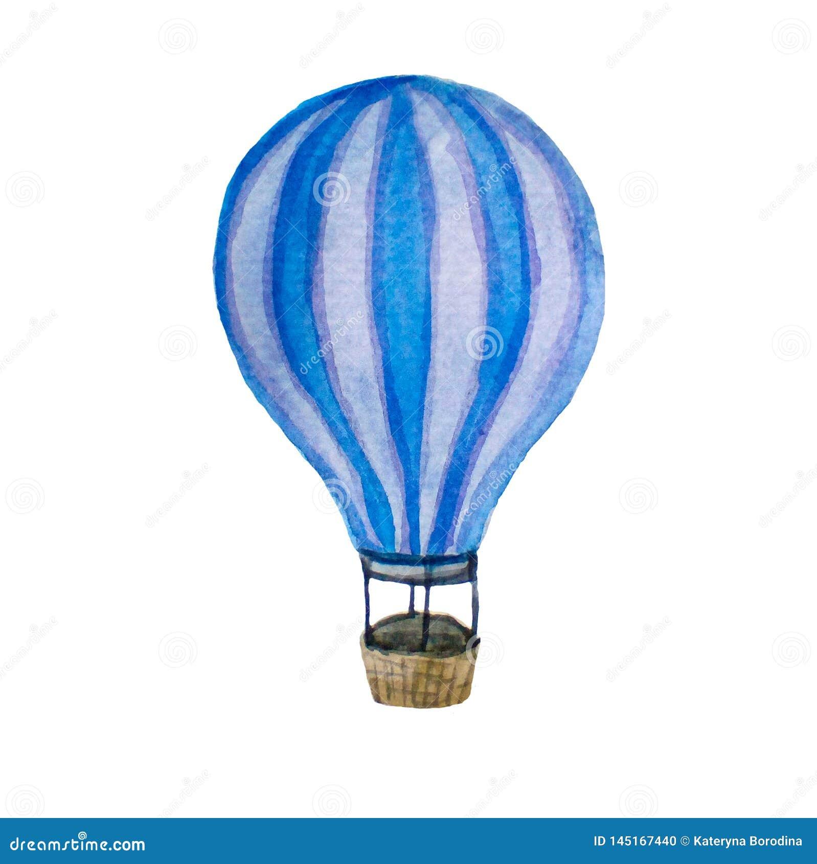 Ilustração retro da aquarela do ballon do ar quente do vintage isolada no branco