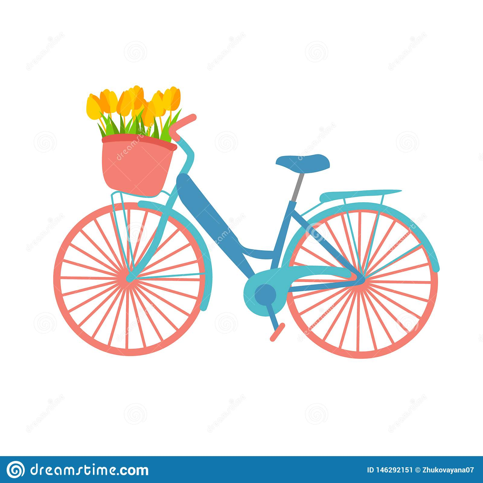 Ilustração romântica sobre a mola que caracteriza uma bicicleta com uma cesta da flor em cores pasteis O projeto liso da ilustraç