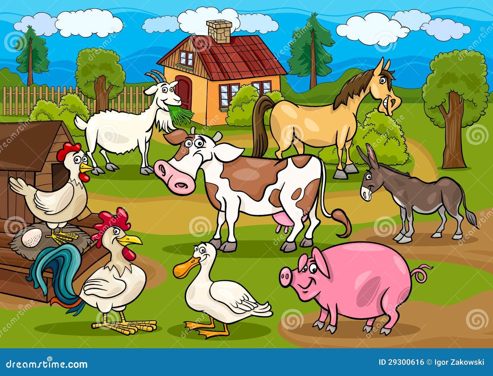 Ilustração rural dos desenhos animados da cena dos animais de exploração agrícola