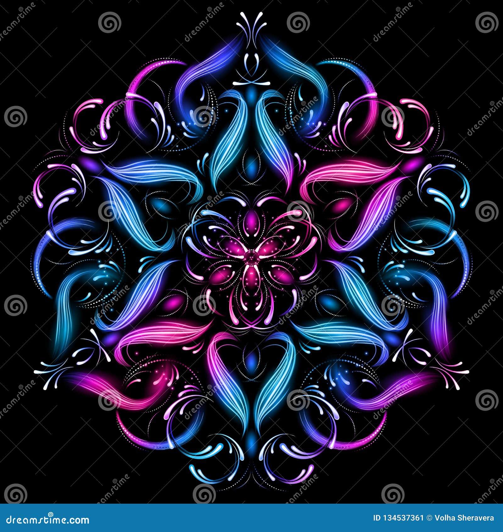 Ilustração sagrado da geometria da mandala do sumário Fractal abstrato bonito Teste padrão misterioso do abrandamento Molde da io
