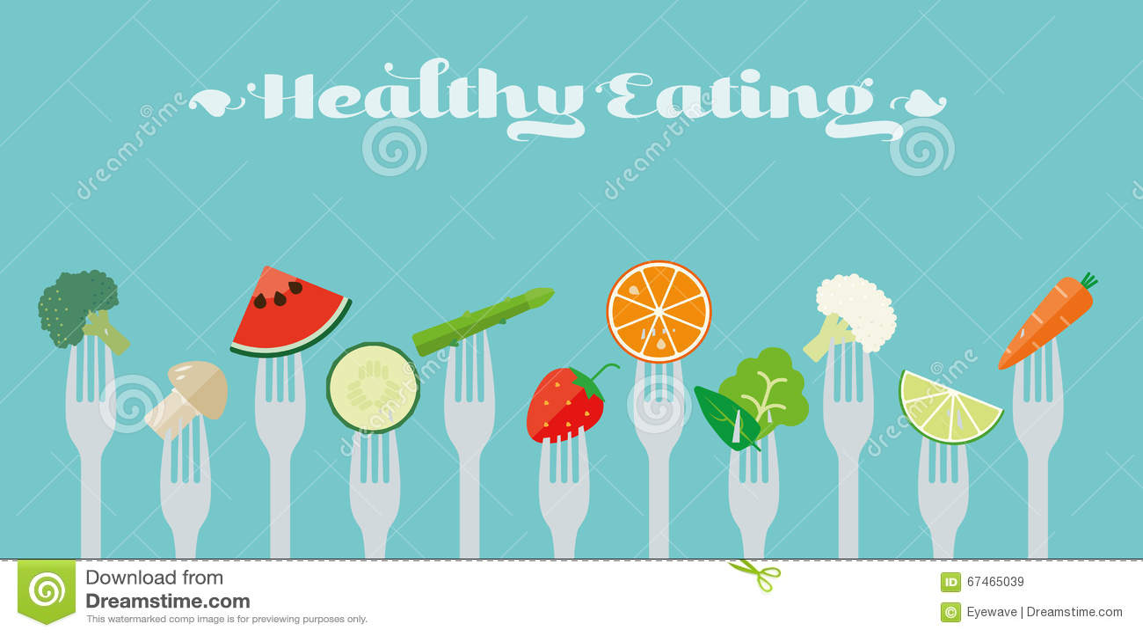 Ilustração saudável do vetor do conceito comer