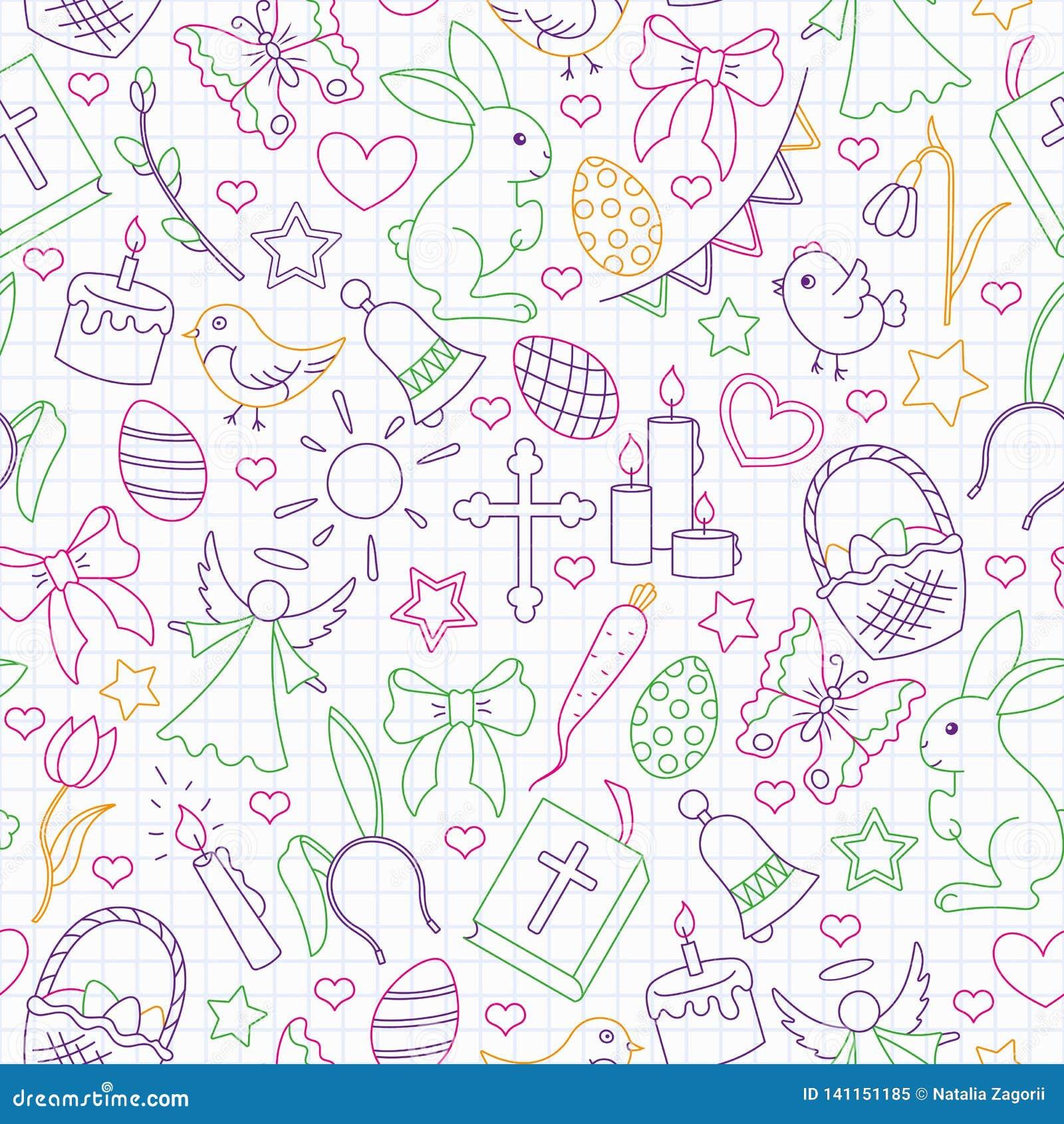 Ilustração sem emenda com ícones simples do contorno em um tema o feriado da Páscoa, ícones coloridos do esboço no escrita-livro