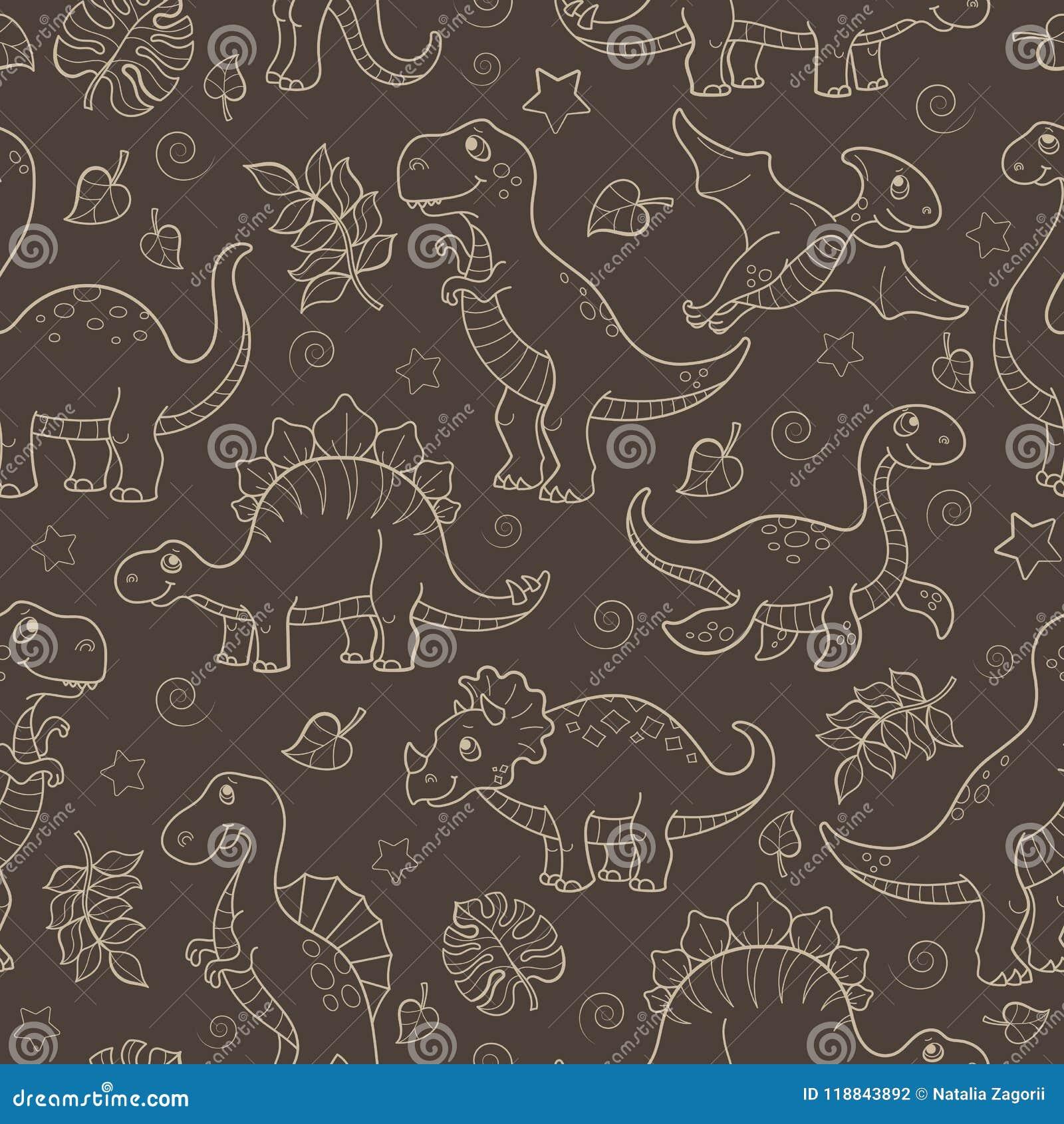 Ilustração sem emenda com dinossauros e folhas, esboço bege contornado dos animais em um fundo marrom