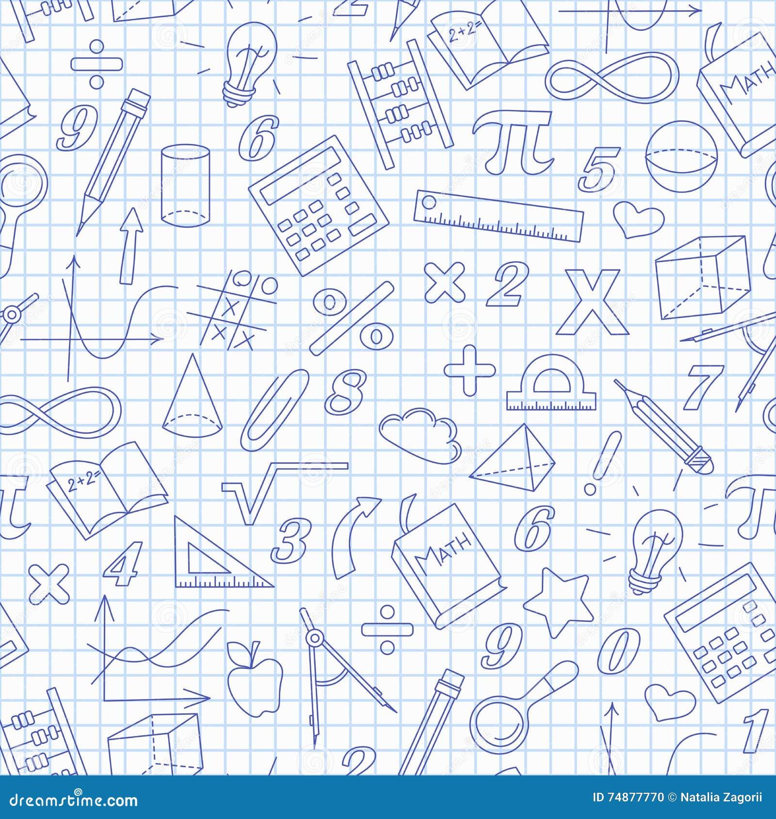 Ilustração sem emenda do assunto da lição da matemática na escola