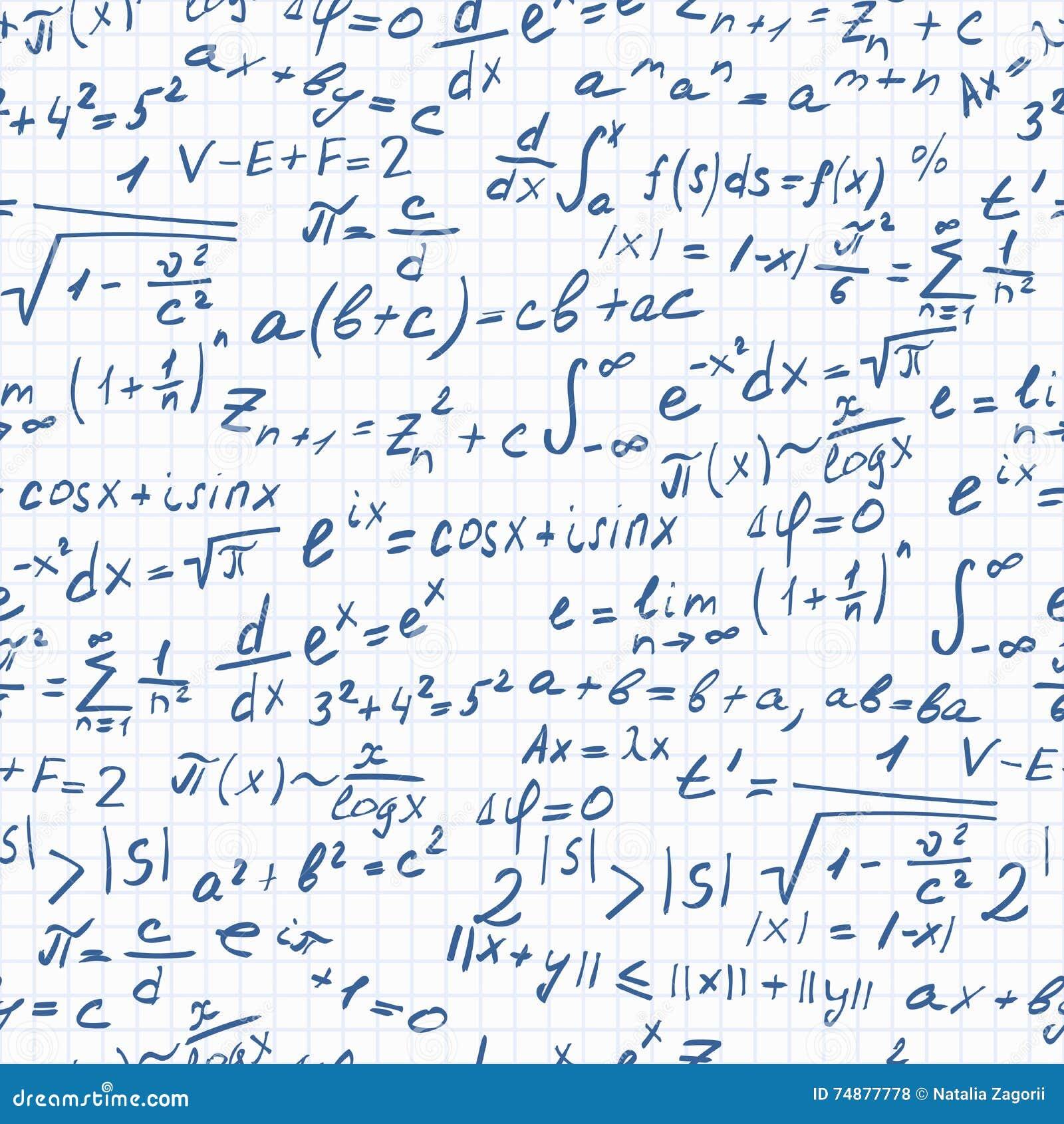 Ilustração sem emenda do assunto de ciências exatas, de fórmulas e de símbolos no fundo