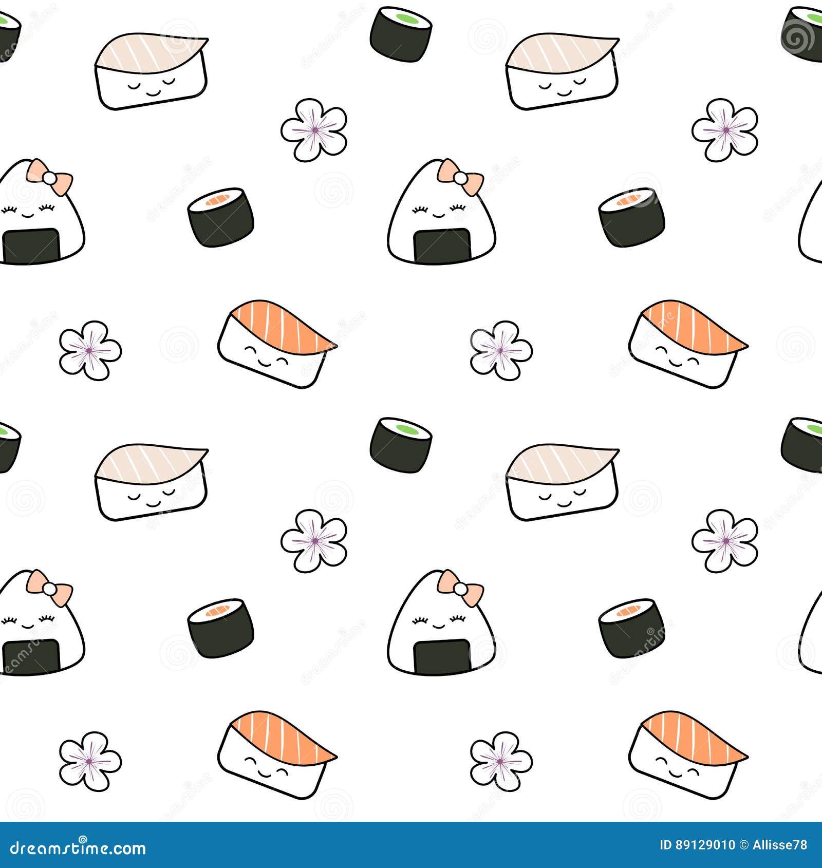 Ilustração sem emenda do fundo do teste padrão do alimento japonês bonito do sushi dos desenhos animados