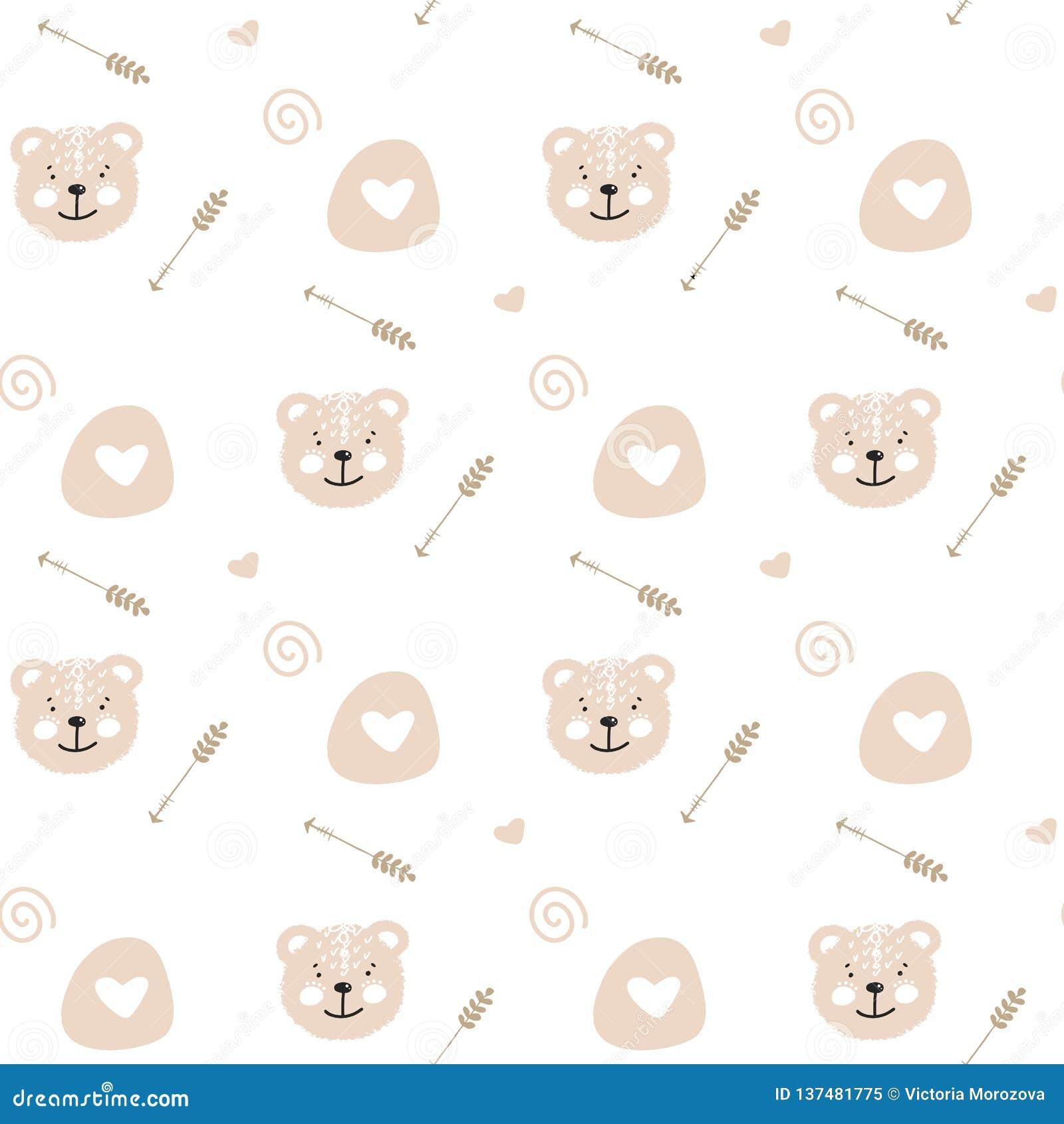 Ilustração sem emenda do teste padrão da garatuja bonito dos desenhos animados com o urso macio bonito Textura infinita com fundo