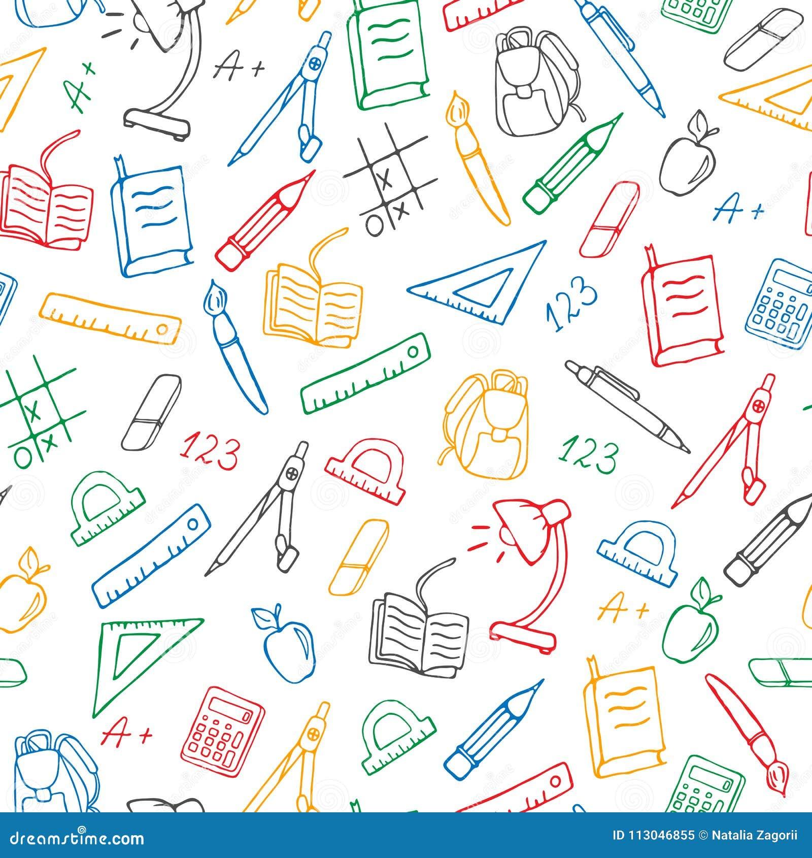 Ilustração sem emenda no tema da escola, ícones desenhados à mão simples de um contorno, marcadores coloridos em um fundo branco