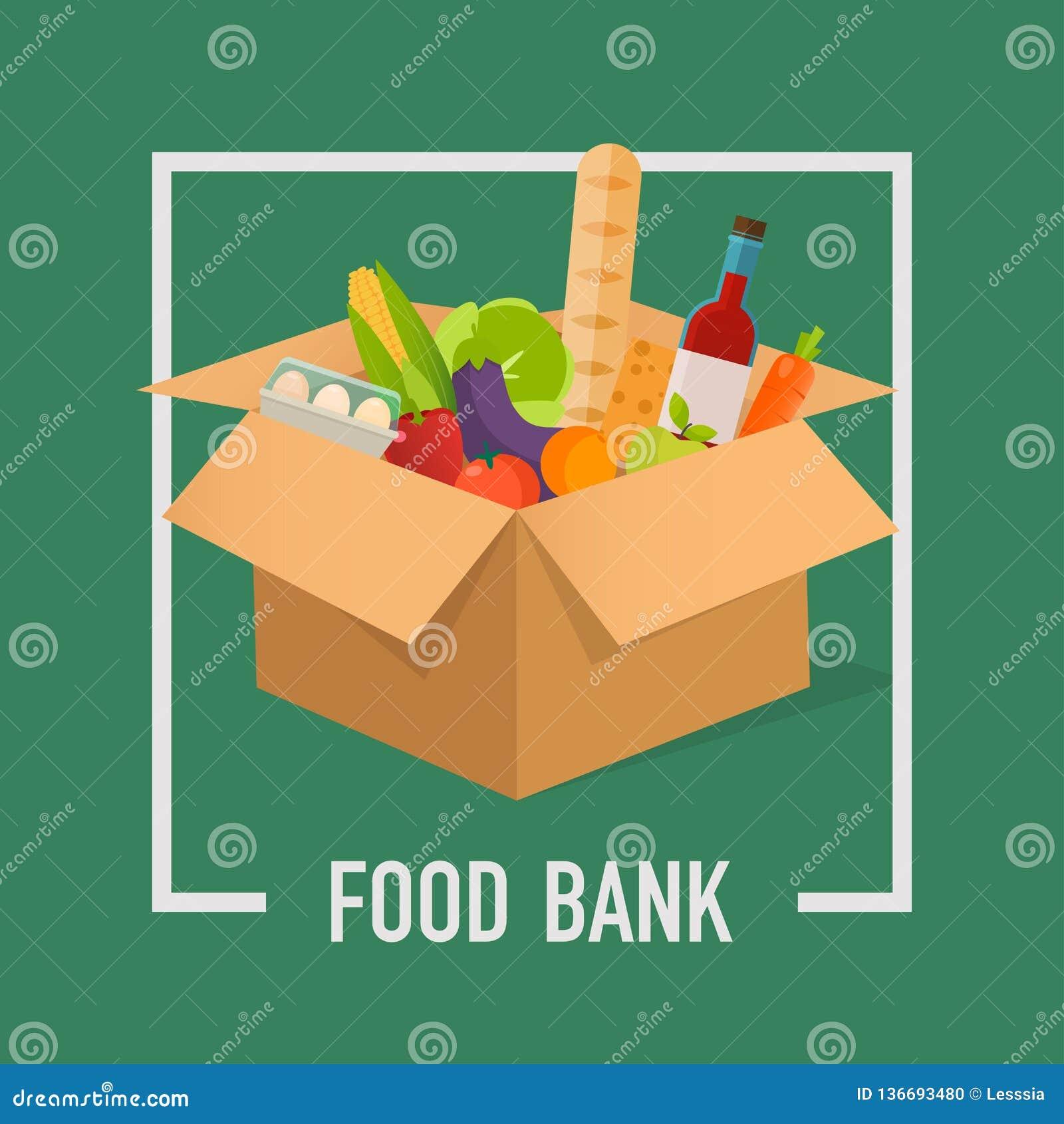 Ilustração simples do conceito do banco alimentar Hora de doar Doação do alimento Caixas completamente do alimento Ilustrações do