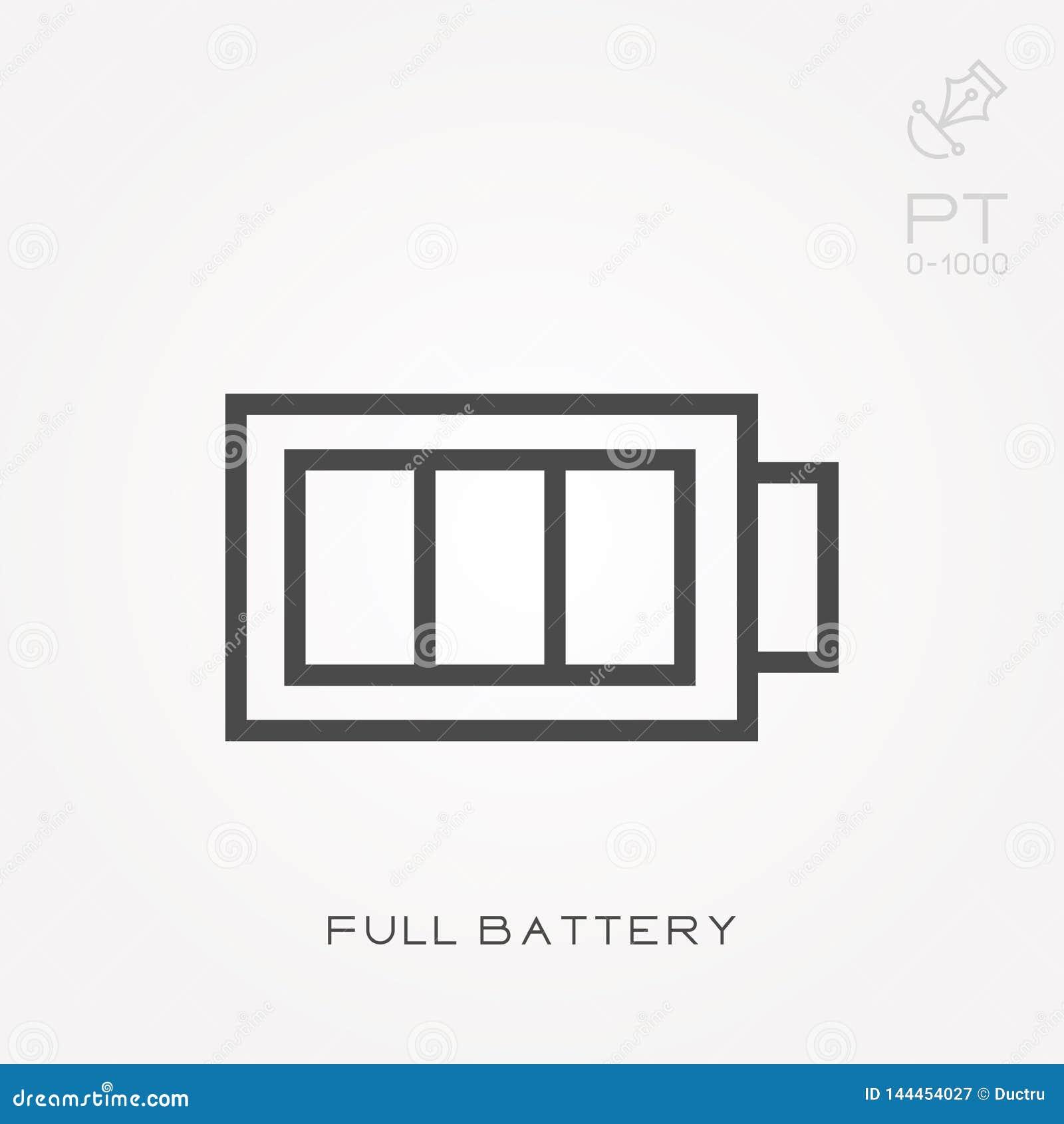 Ilustração simples do vetor com capacidade para mudar Linha bateria completa do ícone