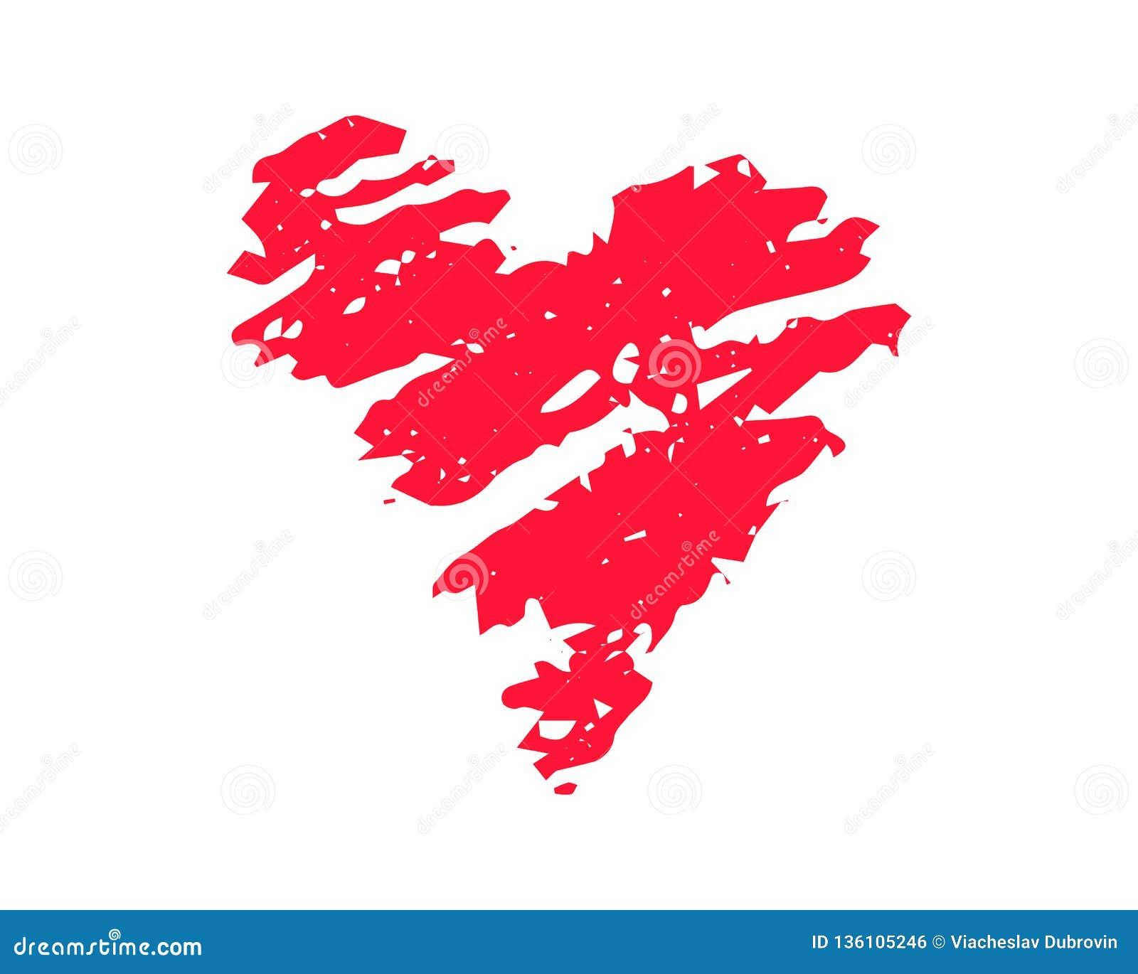 Ilustração textured do vetor do coração vermelho no fundo branco Clipart do St Valentine Day Coração vermelho da textura do giz