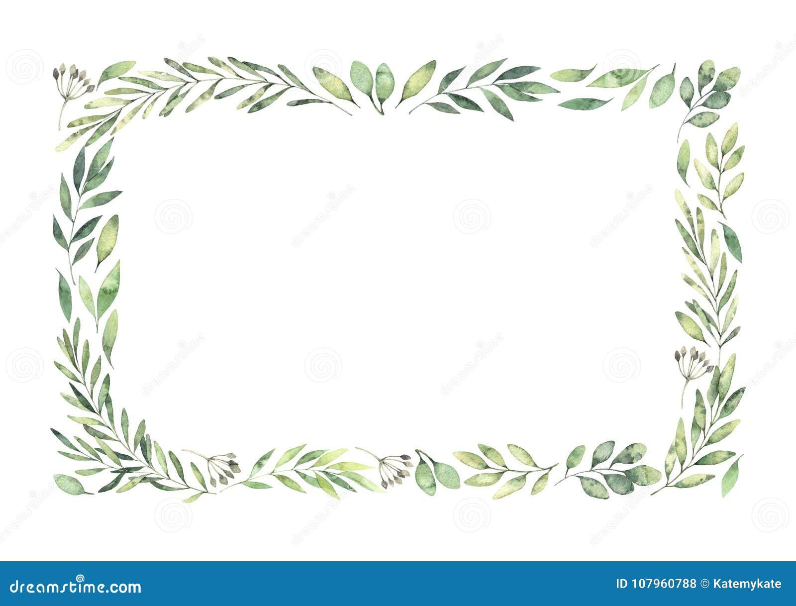 Ilustração tirada mão da aguarela Beira retangular botânica