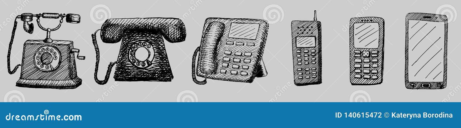 Ilustração tirada mão da evolução do telefone retro e nova