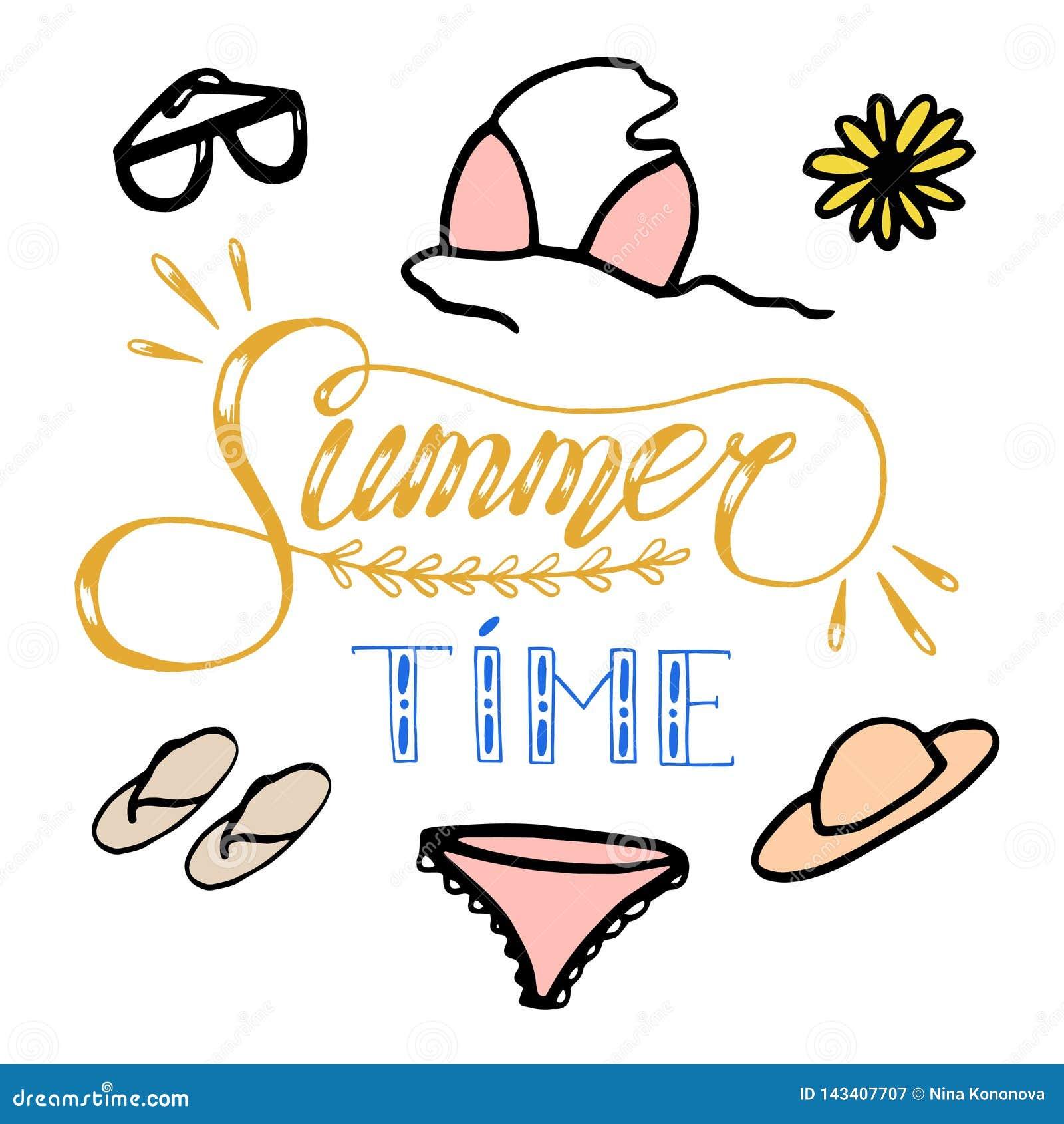 Ilustração tirada mão do esboço no fundo branco, elementos do projeto roupa e acessórios do verão da mulher lettering