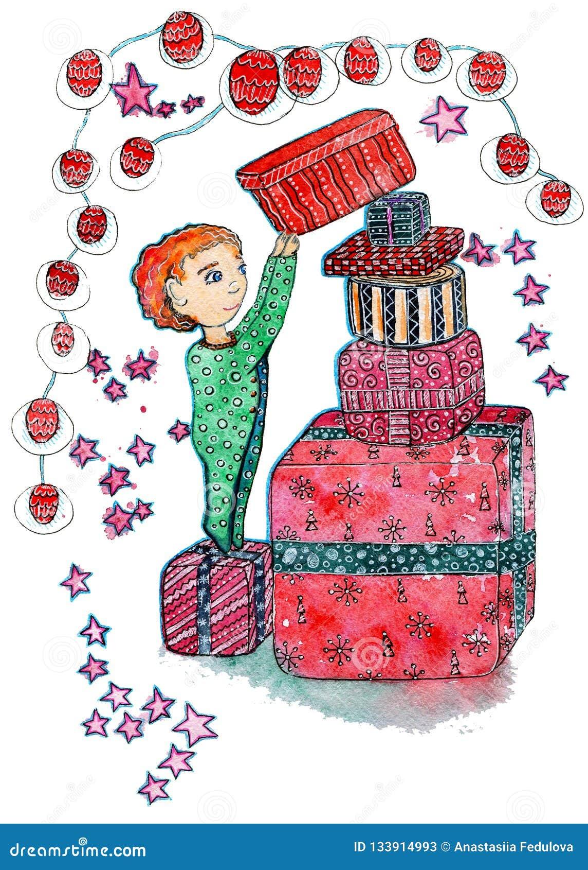 Ilustração tirada mão do Natal da aquarela de uma criança com uma caixa de muitos presentes no fundo branco