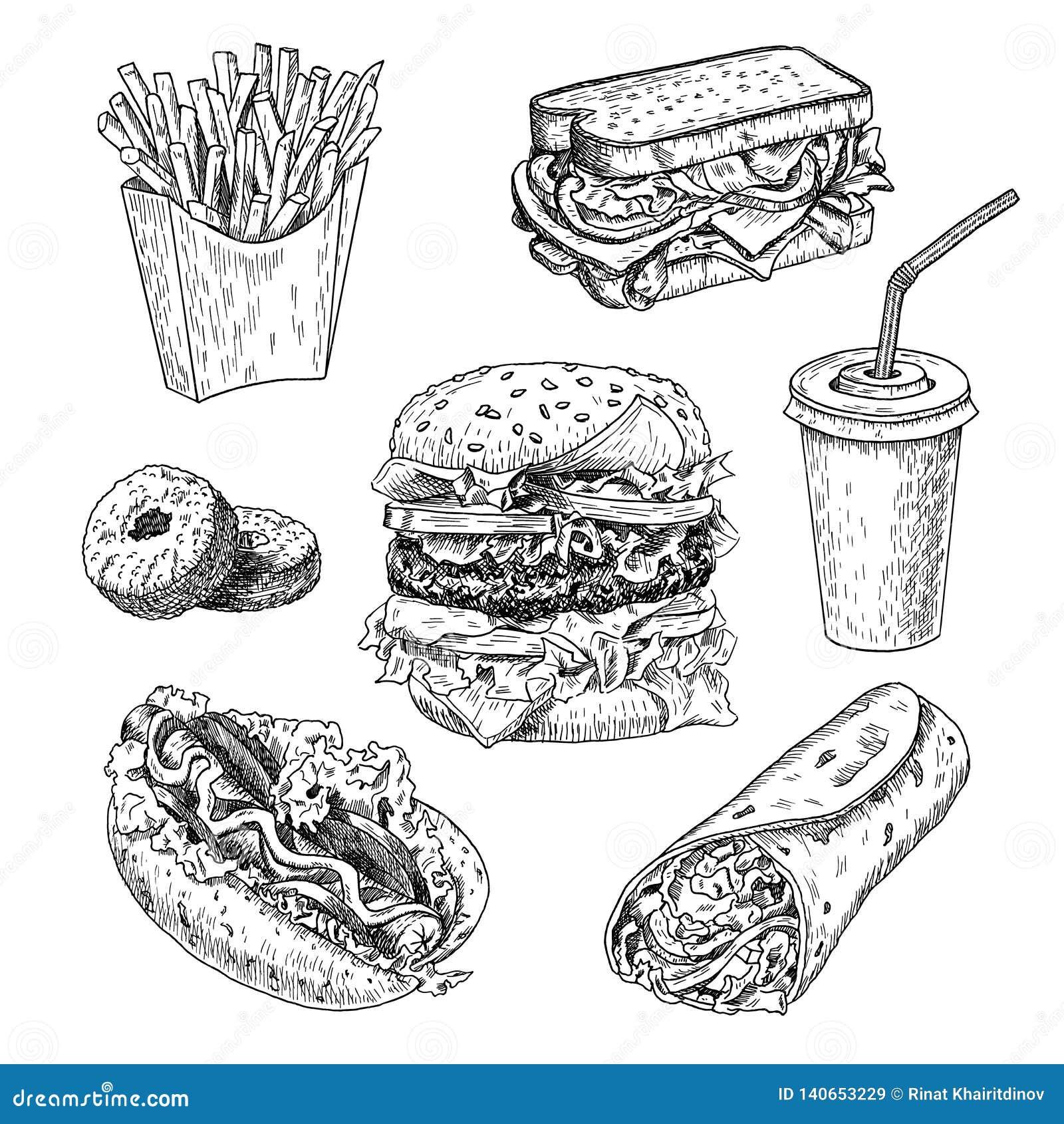 Ilustração tirada mão do vetor do fast food O Hamburger, as batatas fritas, o sanduíche, o cachorro quente, as filhóses, o burrit