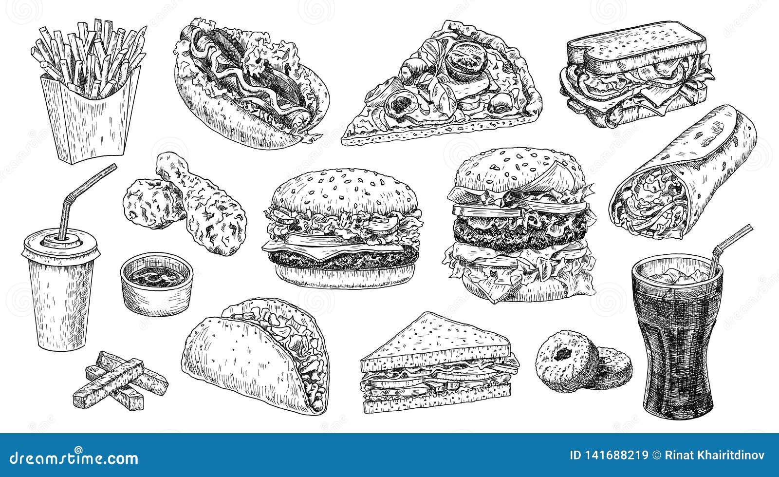 Ilustração tirada mão do vetor do grupo do fast food Hamburger, cheeseburger, sanduíche, pizza, galinha, cola, cachorro quente
