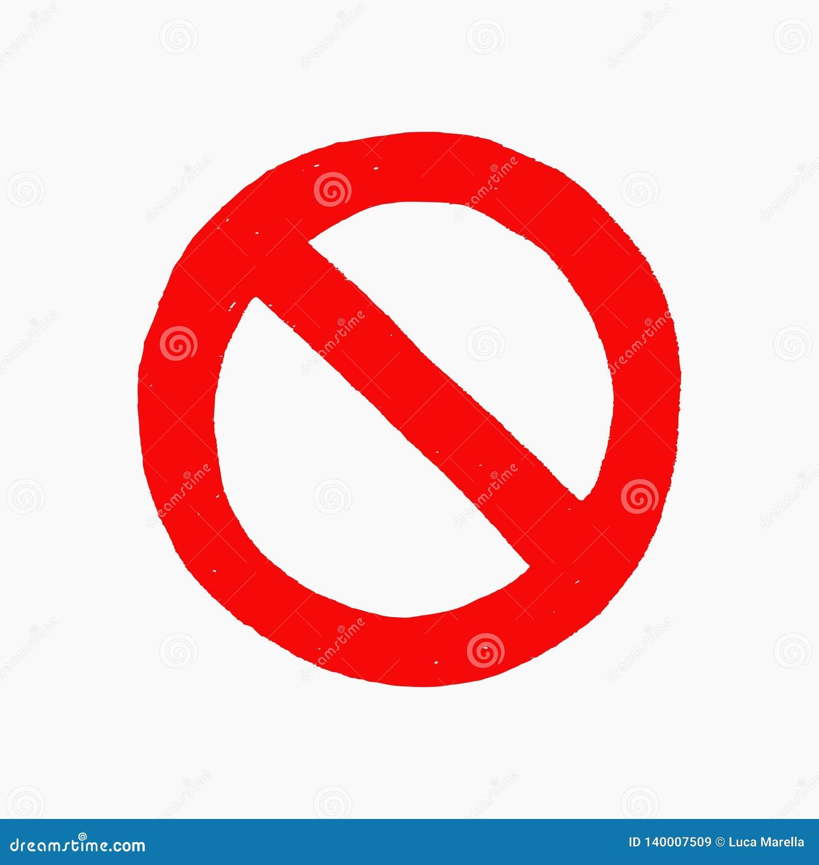 Ilustração tirada mão do vetor do sinal vermelho da proibição isolado no fundo branco