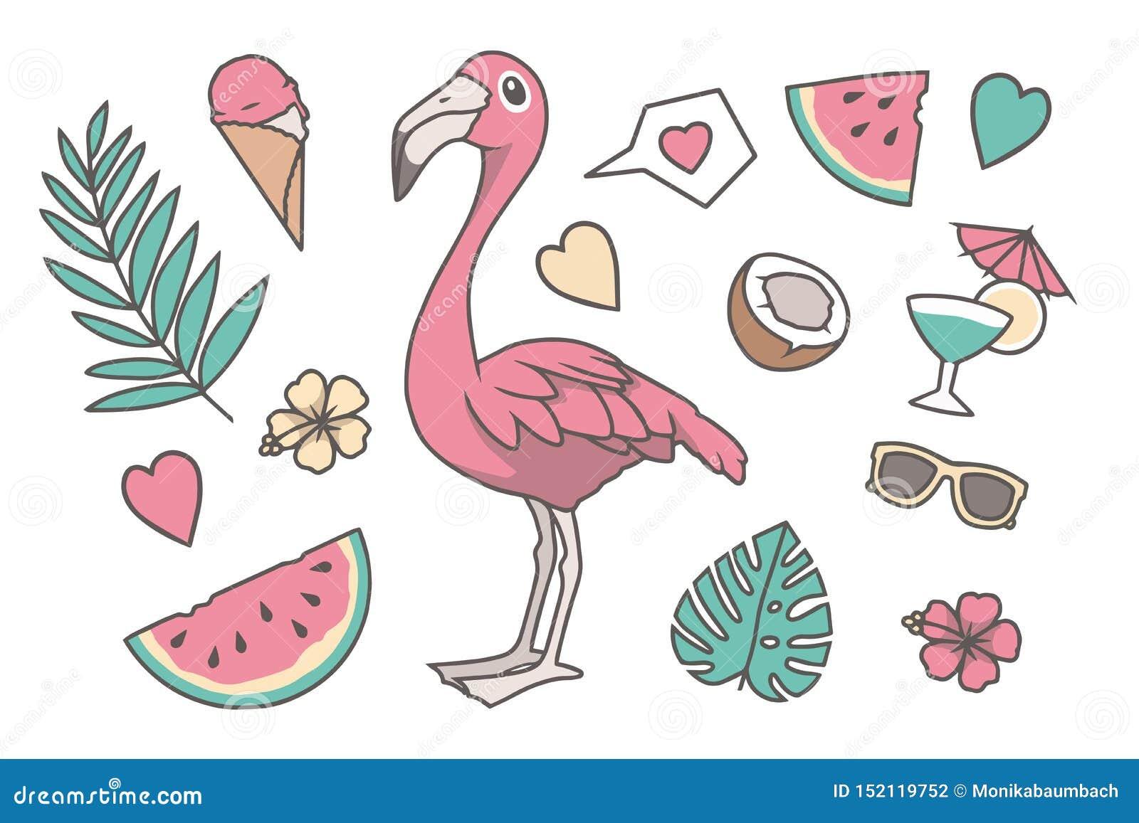 Ilustração tropical do vetor ajustada com o pássaro do flamingo do estilo bonito dos desenhos animados, a folha cor-de-rosa da pa