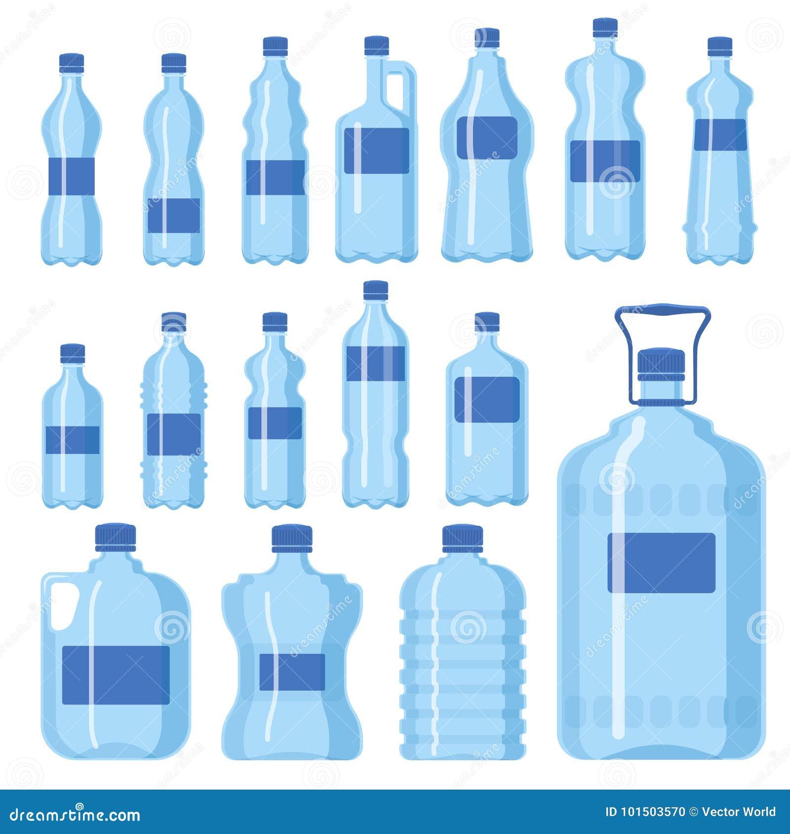 Ilustração vazia fluida do molde da silhueta do molde do aqua líquido limpo azul plástico da natureza da placa do vetor da garraf