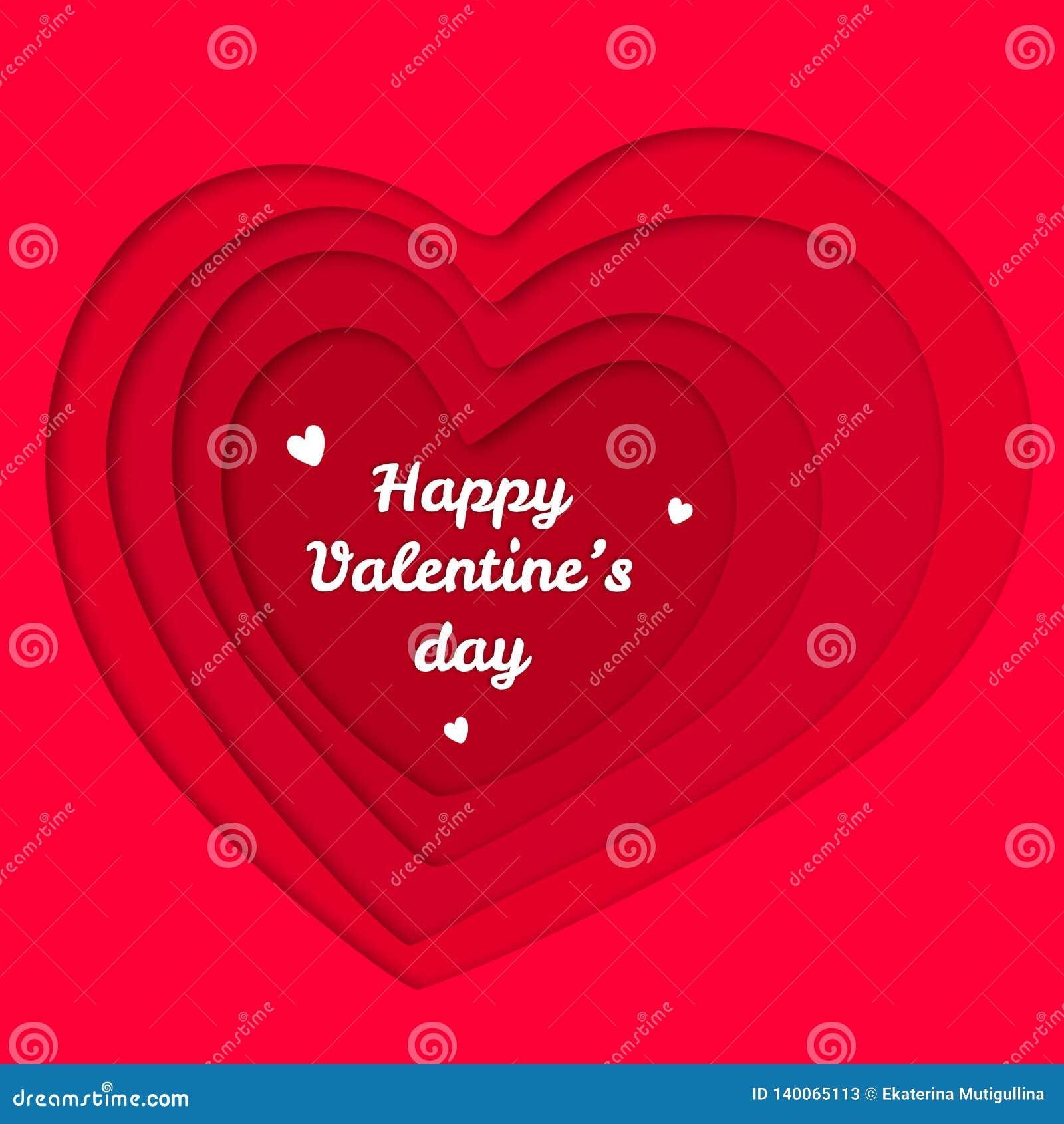 Ilustração vermelha do corte do papel dos corações do dia de Valentim