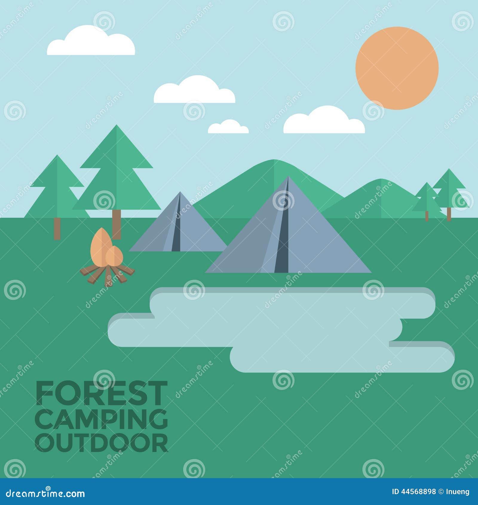 Ilustrações de Forest Camping Outdoor Vetora