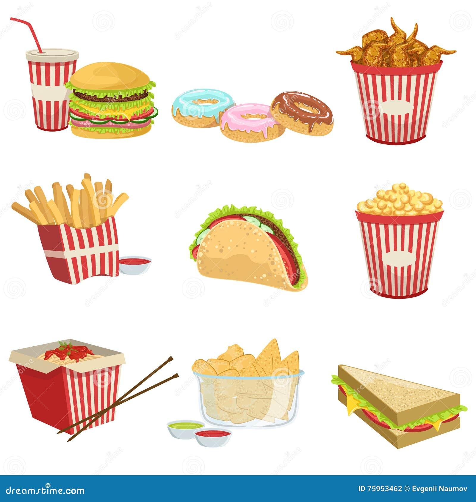 Ilustrações detalhadas realísticas dos itens de menu do alimento da rua