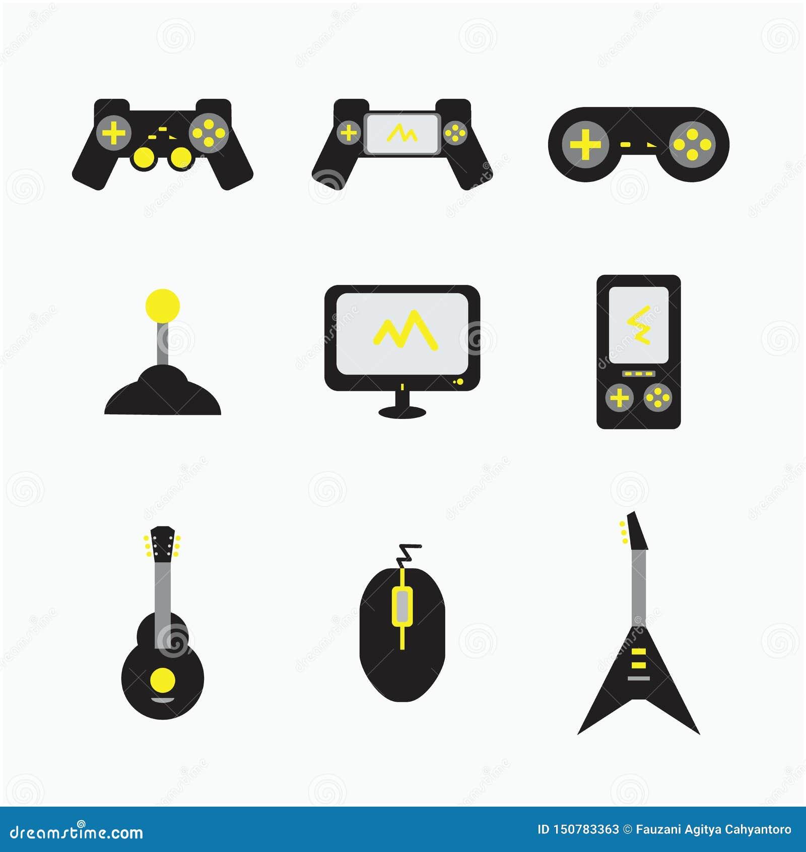 Ilustrações do ícone dos computadores da guitarra do console do jogo