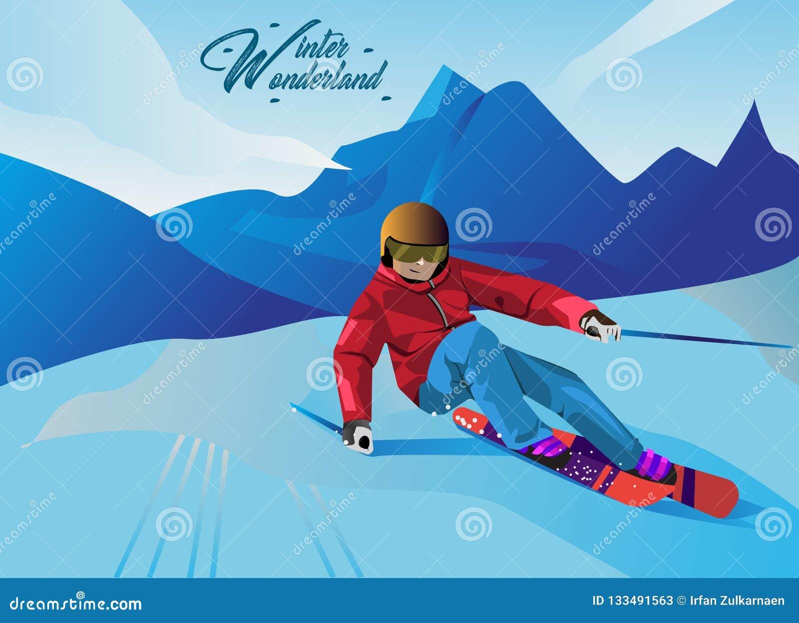 Ilustrações do esporte de inverno no estilo dos desenhos animados do vetor