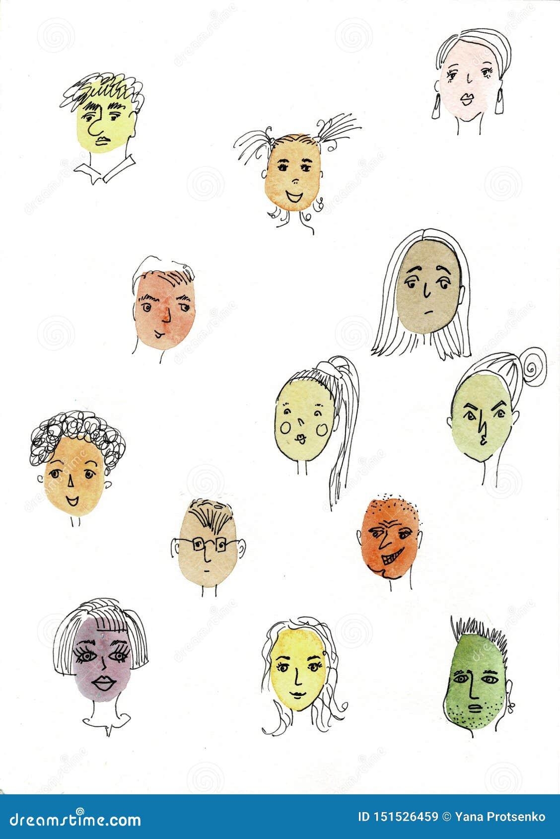 Ilustra??o da aquarela isolada no fundo branco O retrato da cara, caras diferentes do ` s da menina