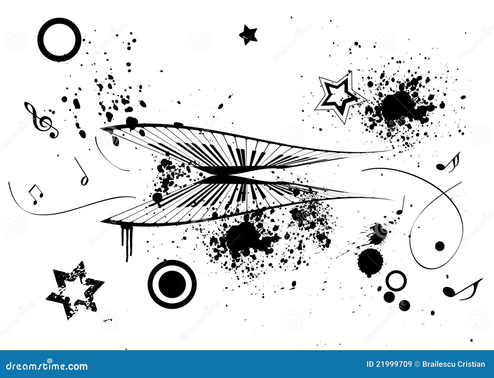 Ilustración de Grunge de un piano y de las notas de la música