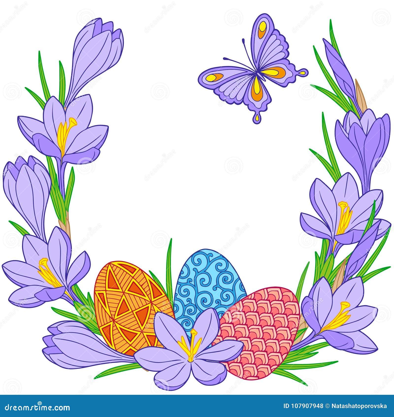 Ilustración de la flor de la primavera de azafranes y de los huevos de Pascua Fondo para el diseño de tarjetas a la Pascua