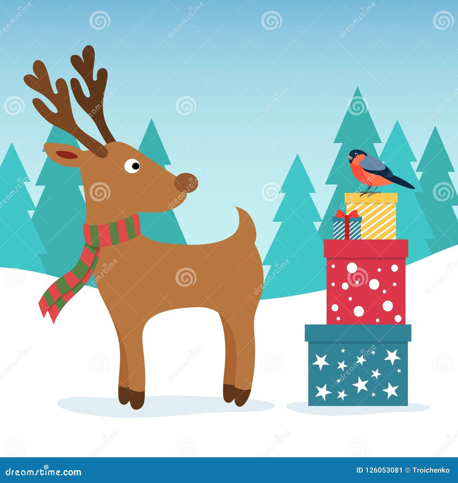 Ilustración de la Navidad del invierno Ciervos y piñonero divertidos con las cajas coloreadas del regalo Saludo del diseño de la