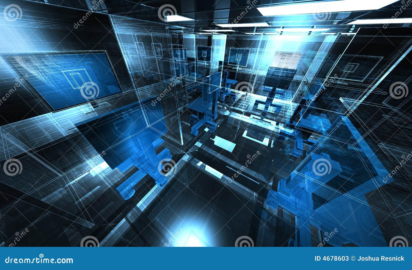 Ilustración de la oficina de la tecnología 3d