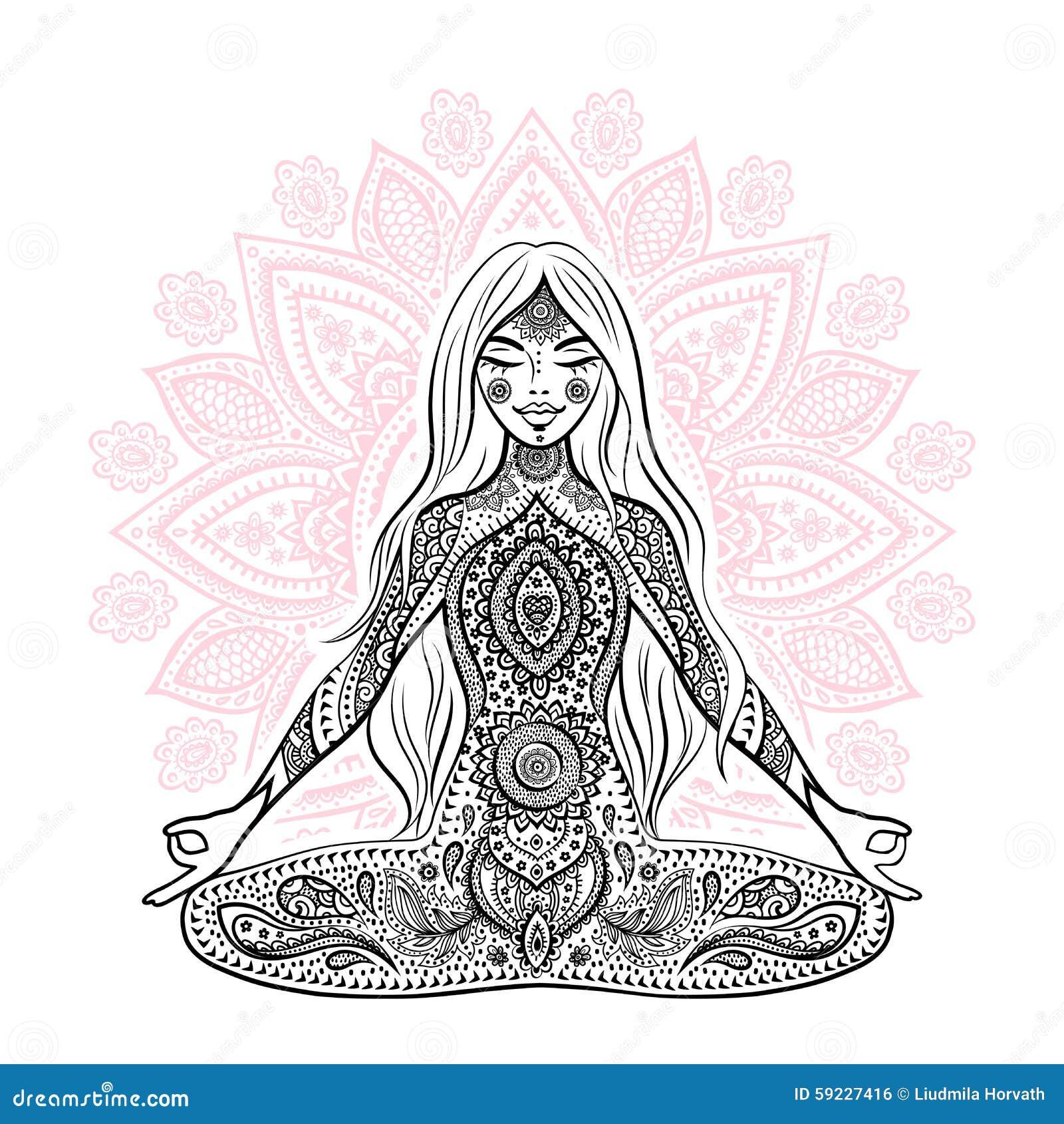 Ilustración de la vendimia Muchacha en una actitud de la meditación