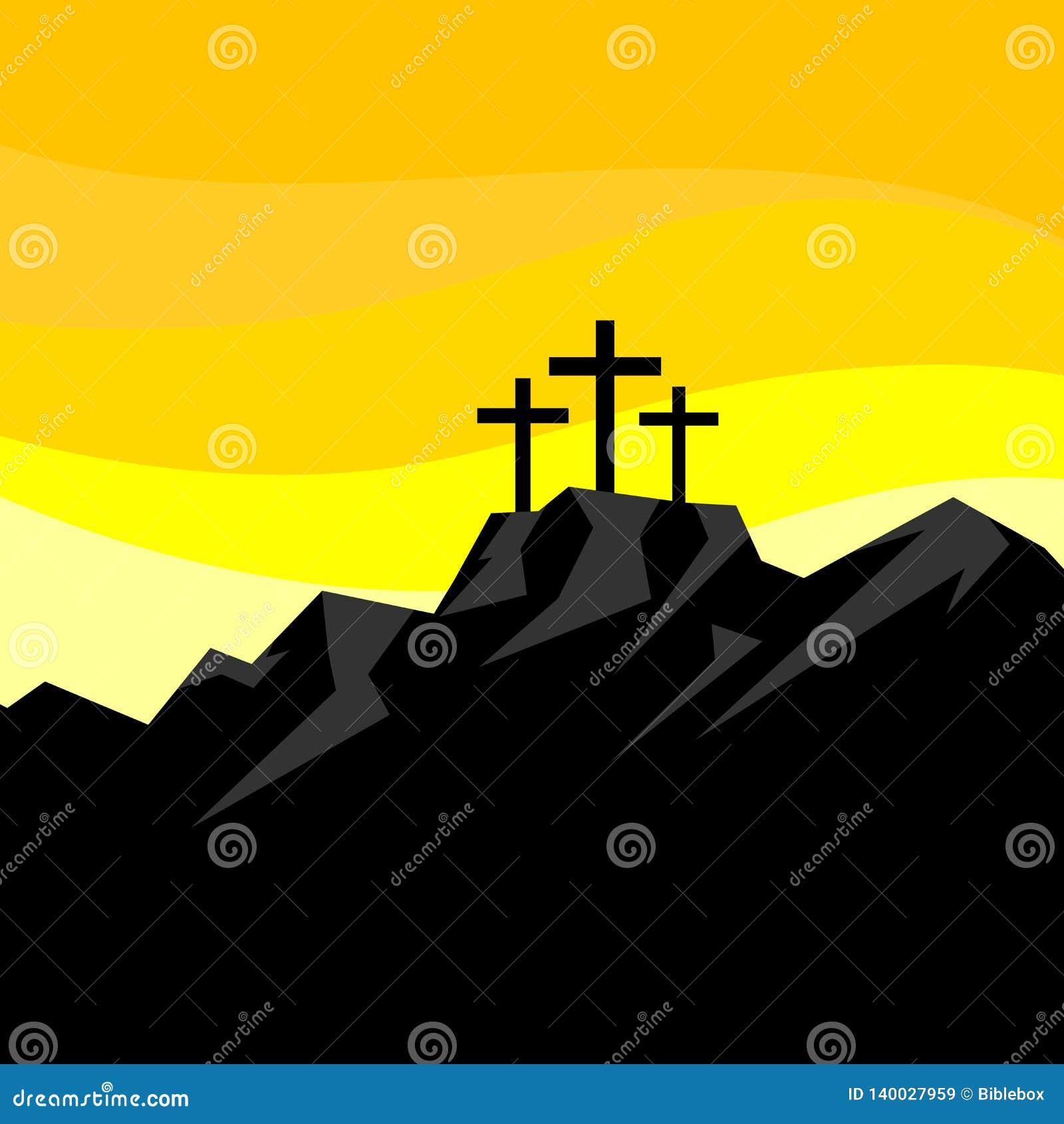 Ilustración de Pascua Tres cruces en el Calvary