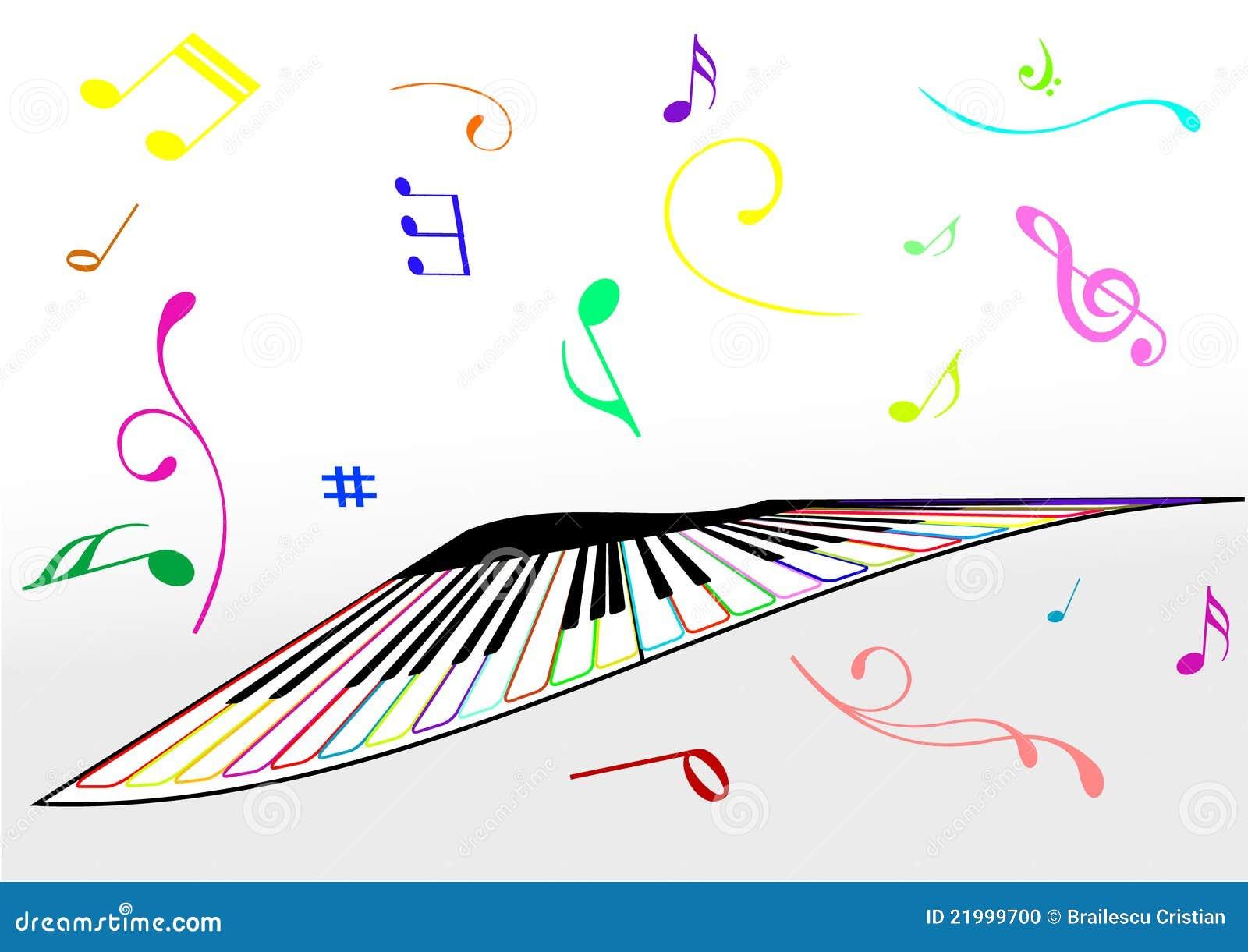 Ilustración de un piano y de las notas de la música